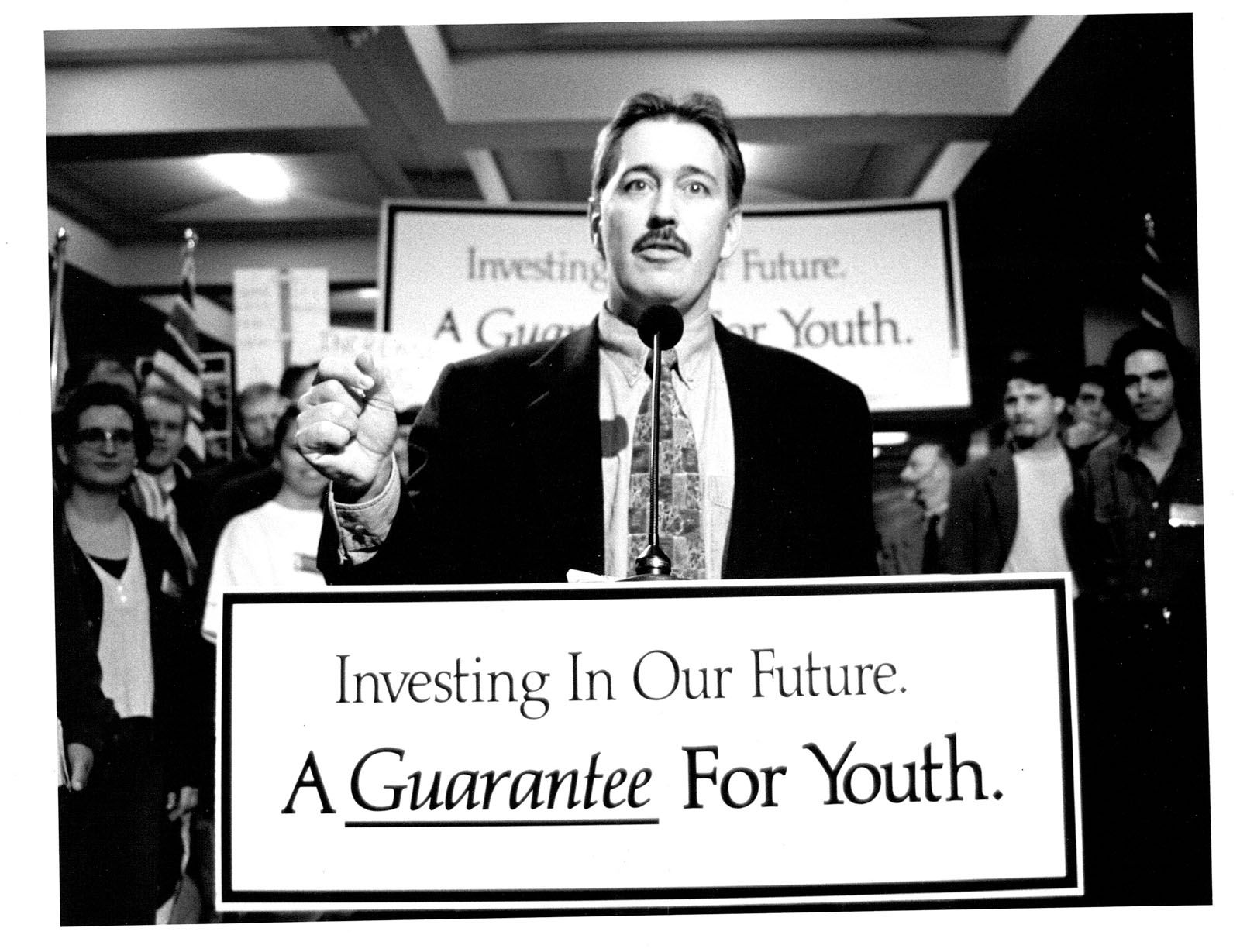 Glen Clark announcing first tuition freeze in March of 1996. International student tuition was raised almost immediately after the freeze was announced, marking the first time international and domestic tuition were differentiated at UBC.
