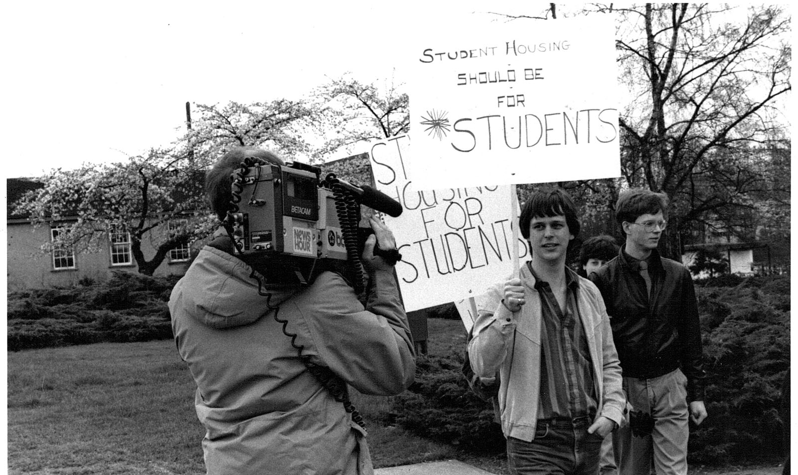 Students protest the development of private housing on campus in this undated photo.