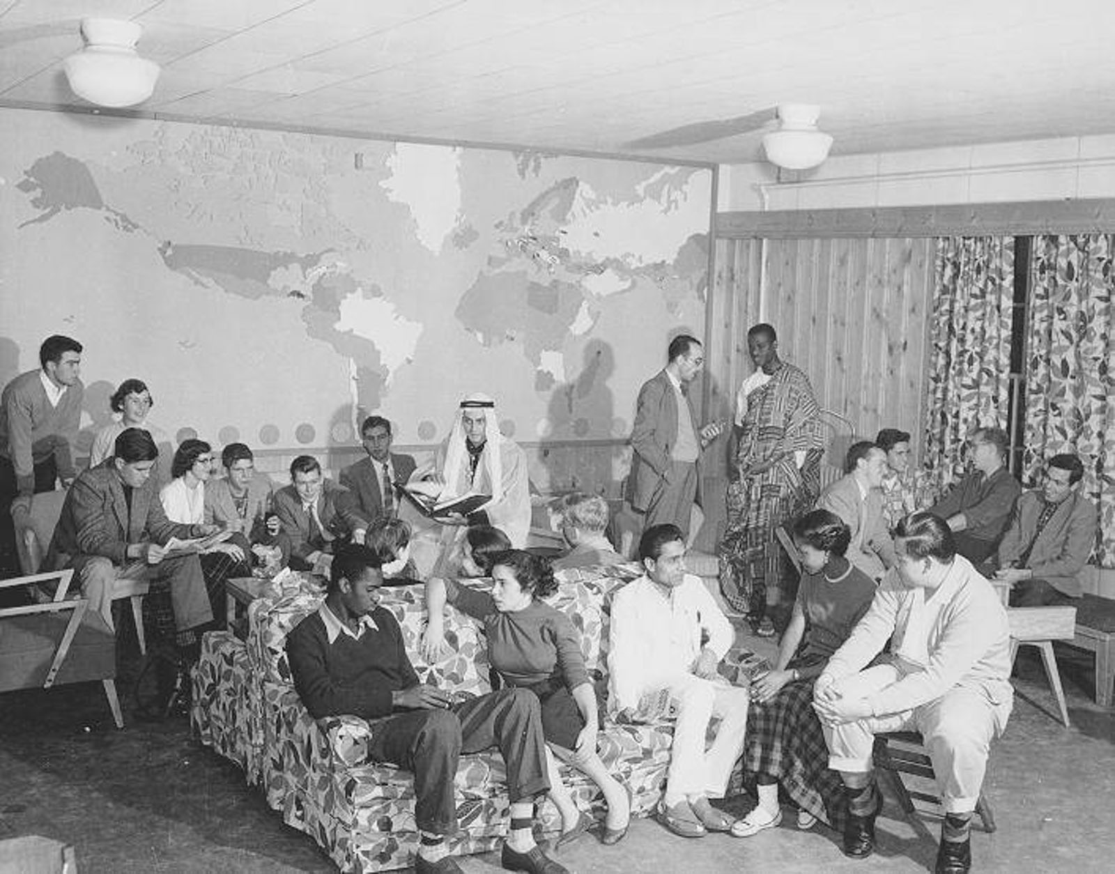 Students socializing in international house on campus in an undated photo.