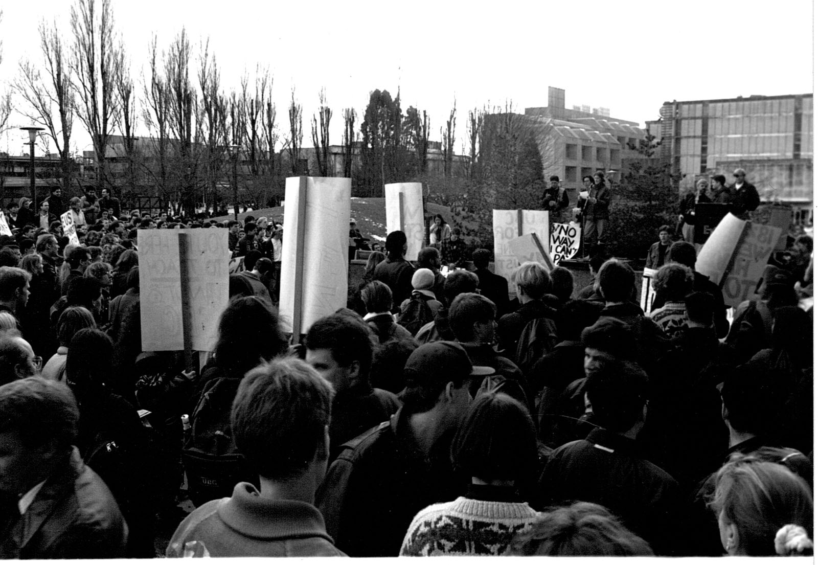Students protest tuition hikes on campus in an undated photo.