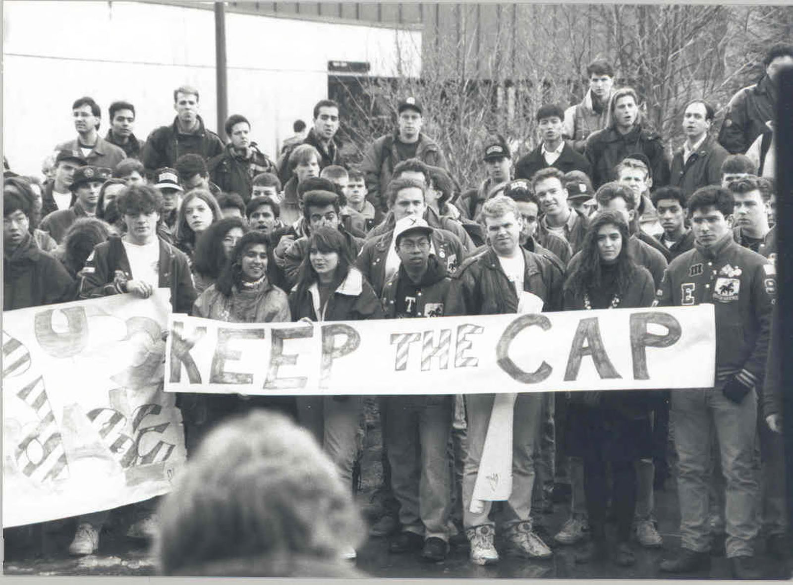 Students protest to keep the cap on domestic tuition imposed by the provincial government in the 1990s. UBC has announced their intent to ask the province to eliminate the cap so domestic students would be subject to the same process of tuition increases as international ones are currently.