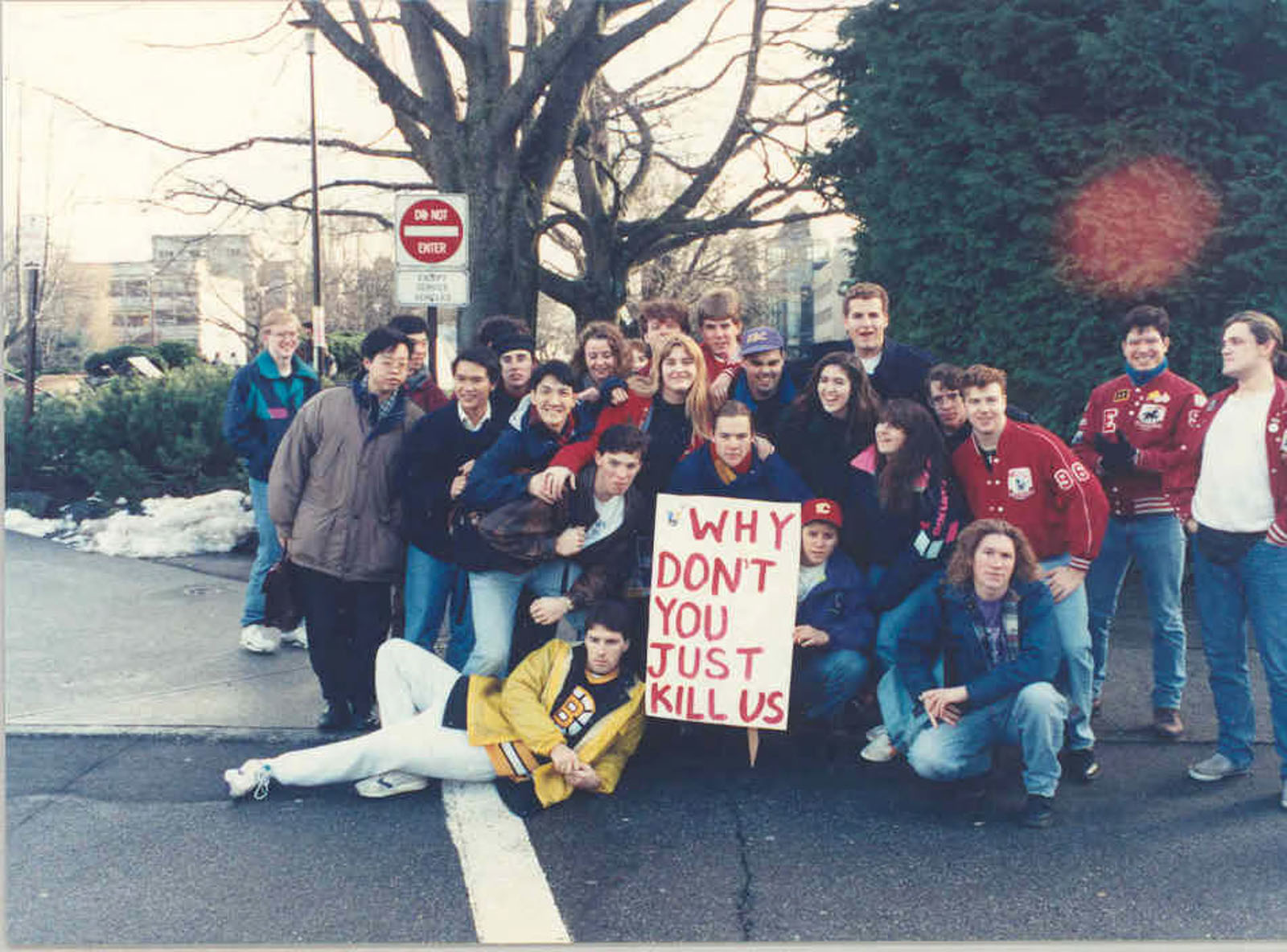 Students protest tuition hikes outside of the Old Administration Building in 1993.
