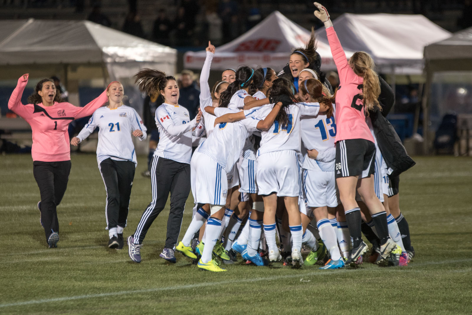 The women of the 'Birds soccer team celebrate their national championship.