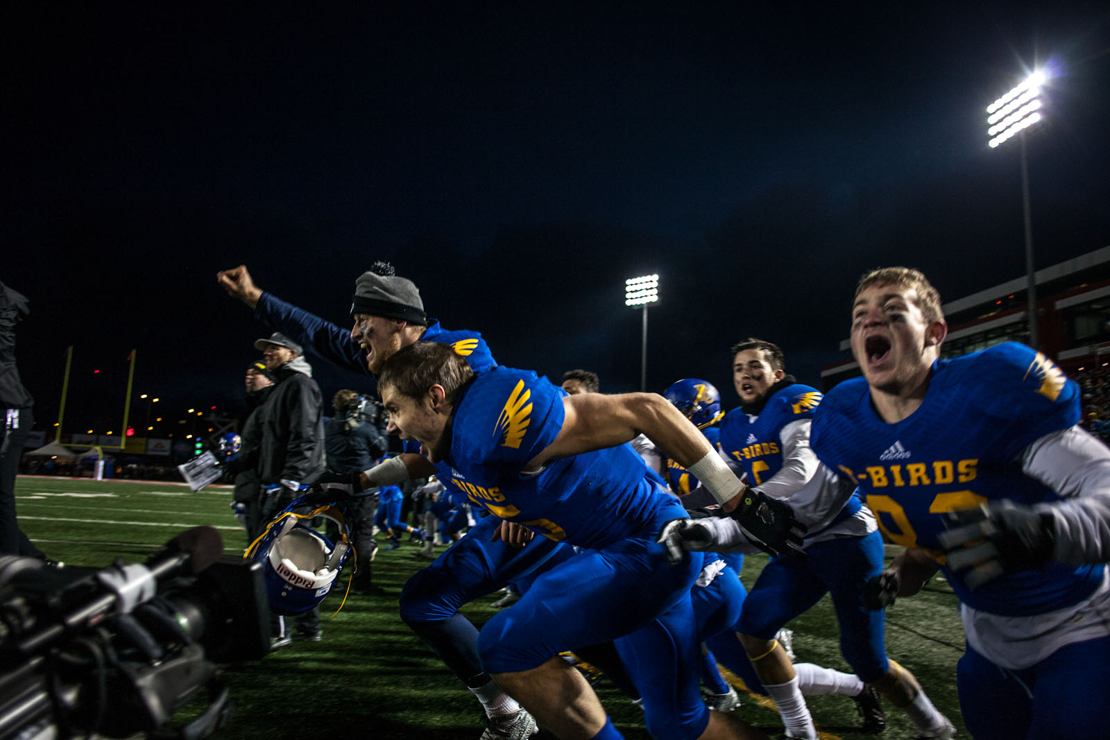 UBC storms the field after winning the Vanier Cup