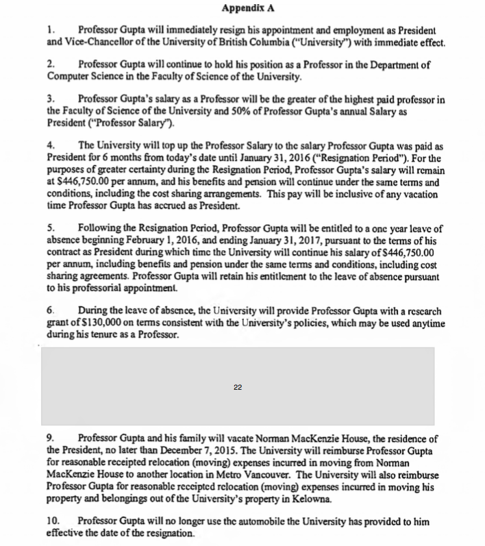 Appendix A of the release agreement between Arvind Gupta and the university.