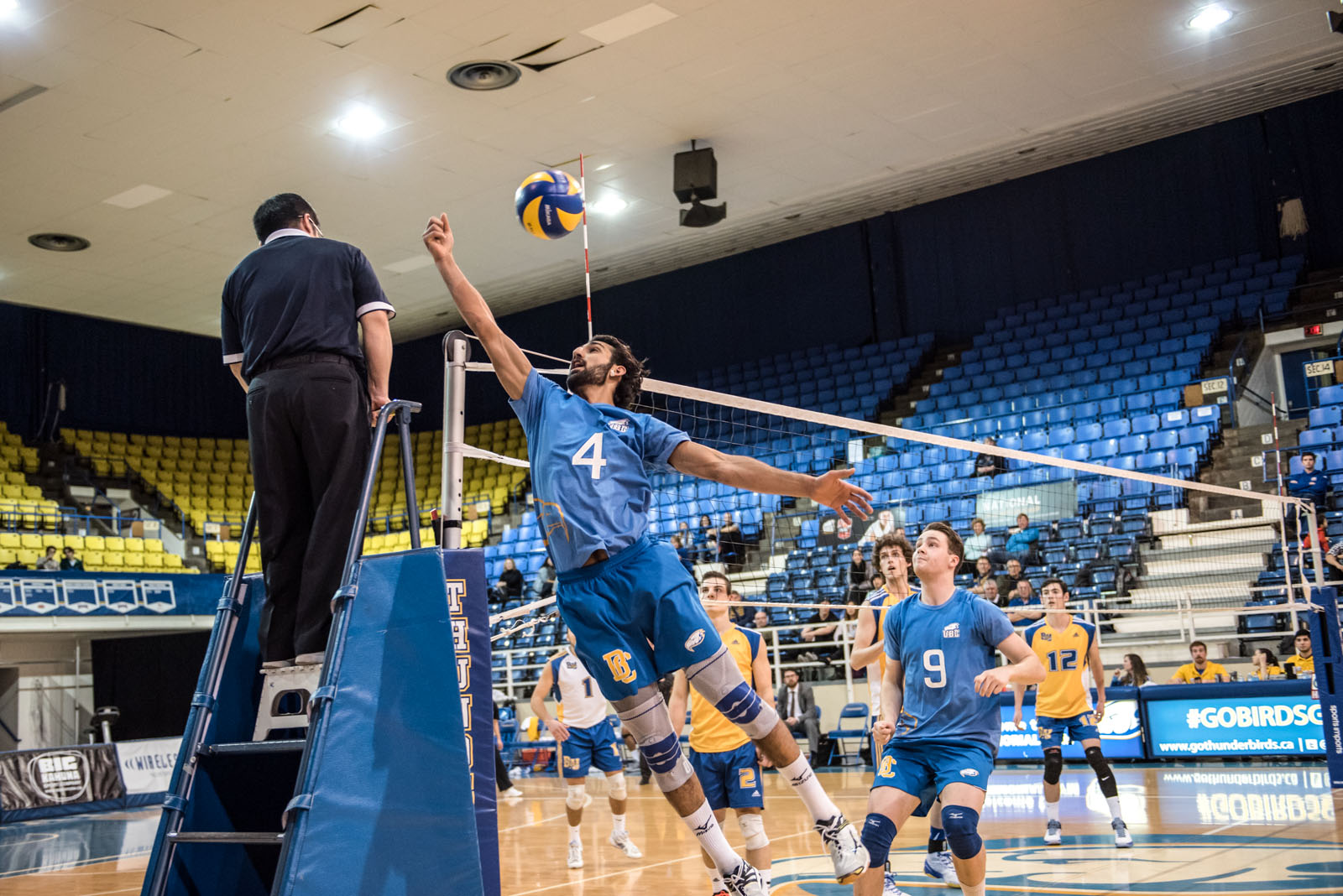 UBC's Irvan Brar gets a hand on the ball. He tallied 19 kills on Saturday.