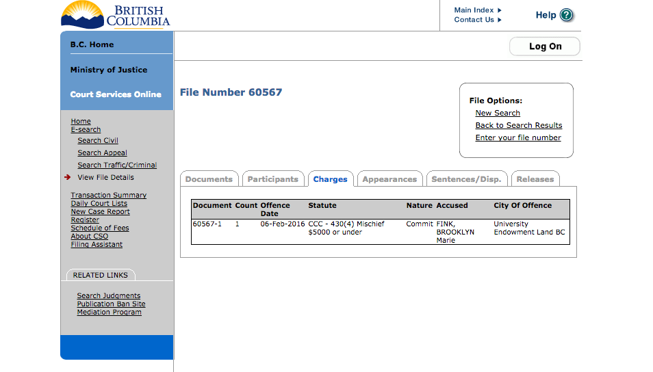 A screenshot of Fink's charges on the BC Ministry of Justice website.
