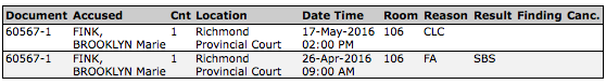 A screenshot of the Fink's court appearance schedule from the BC Ministry of Justice Website.