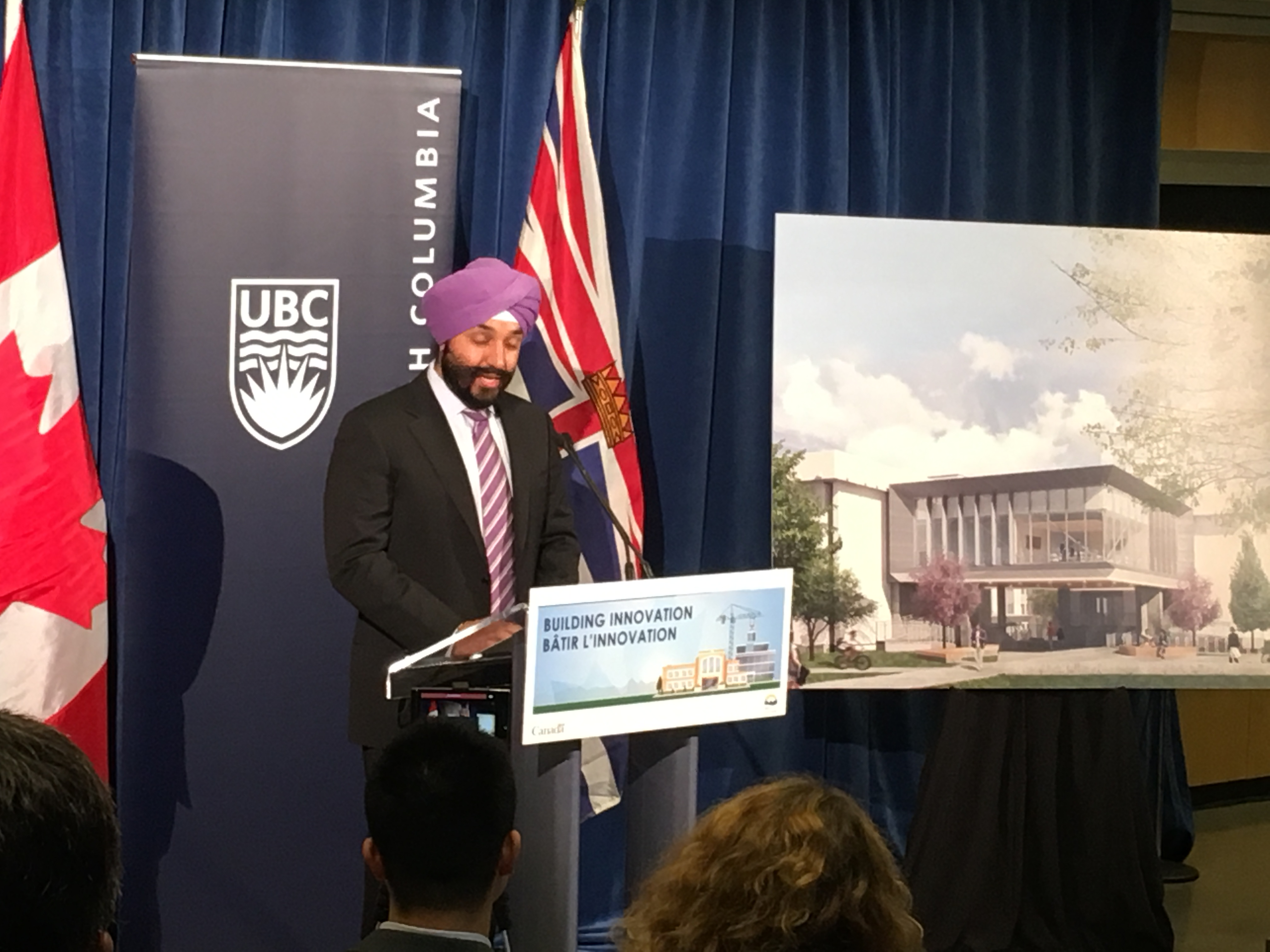 Navdeep Bains — the Minister of Innovation, Science and Economic Development — announcing the investment yesterday morning.