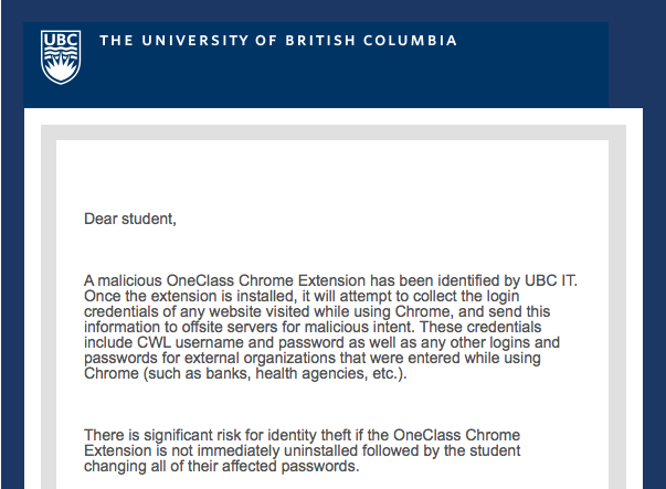 The email that UBC sent out warning students of the OneClass extension.
