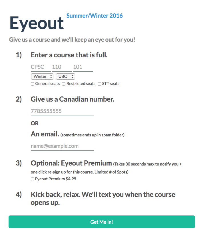 Zhu and Subion's EyeOut service helps students get into full classes at UBC.