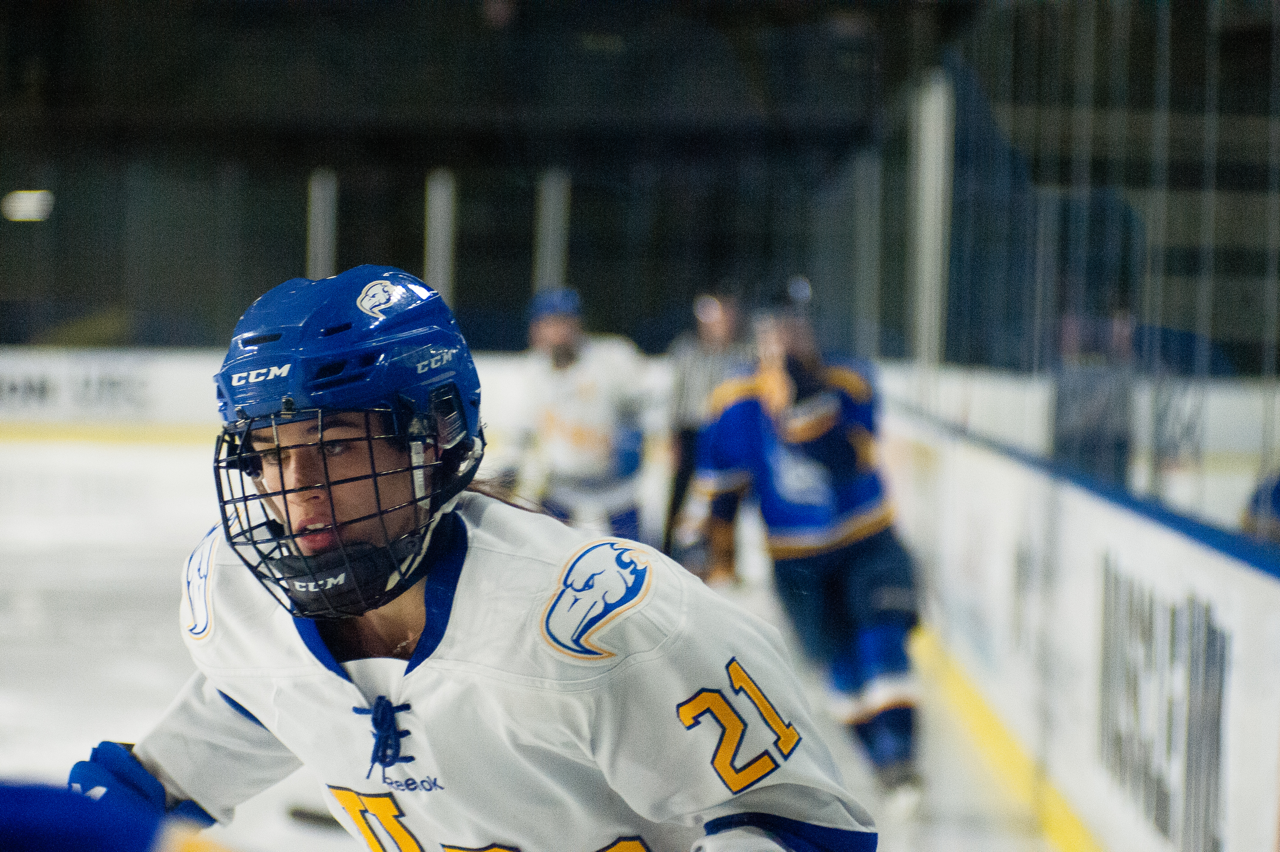 Fifth-year Logan Boyd provided two assists over the weekend for women's hockey.