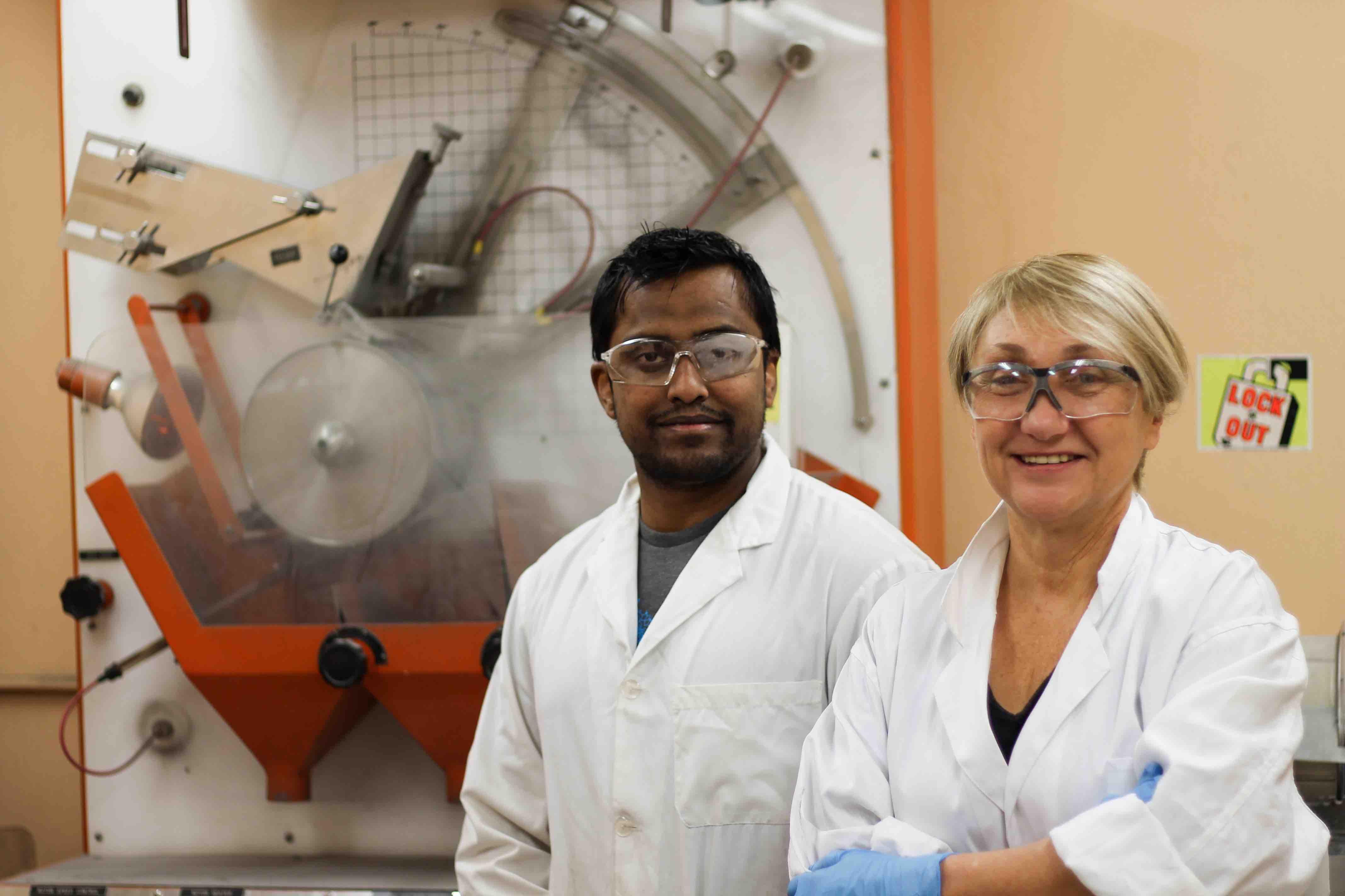 PhD student Amit Kumar and Dr. Maria Holuszko.