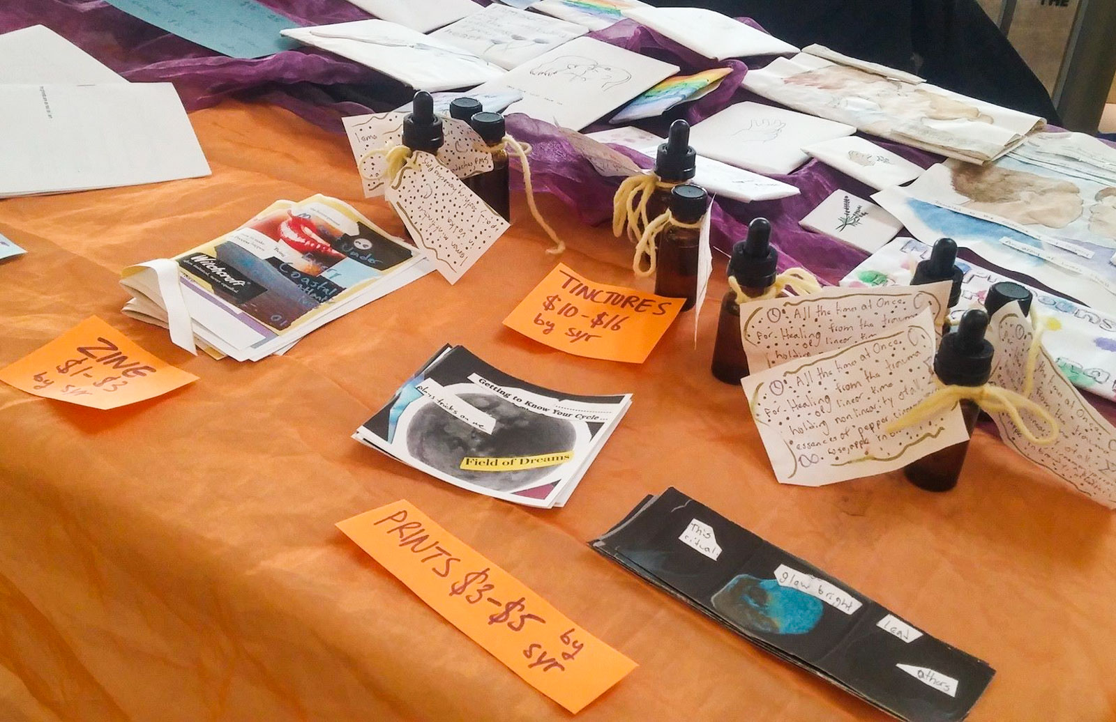 Items being sold at the zine fair.
