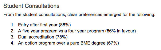 A screenshot from a report on the biomedical engineering program at UBC.