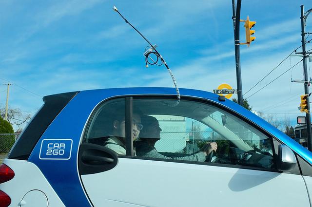 A CO2 sensor on the Car2go.