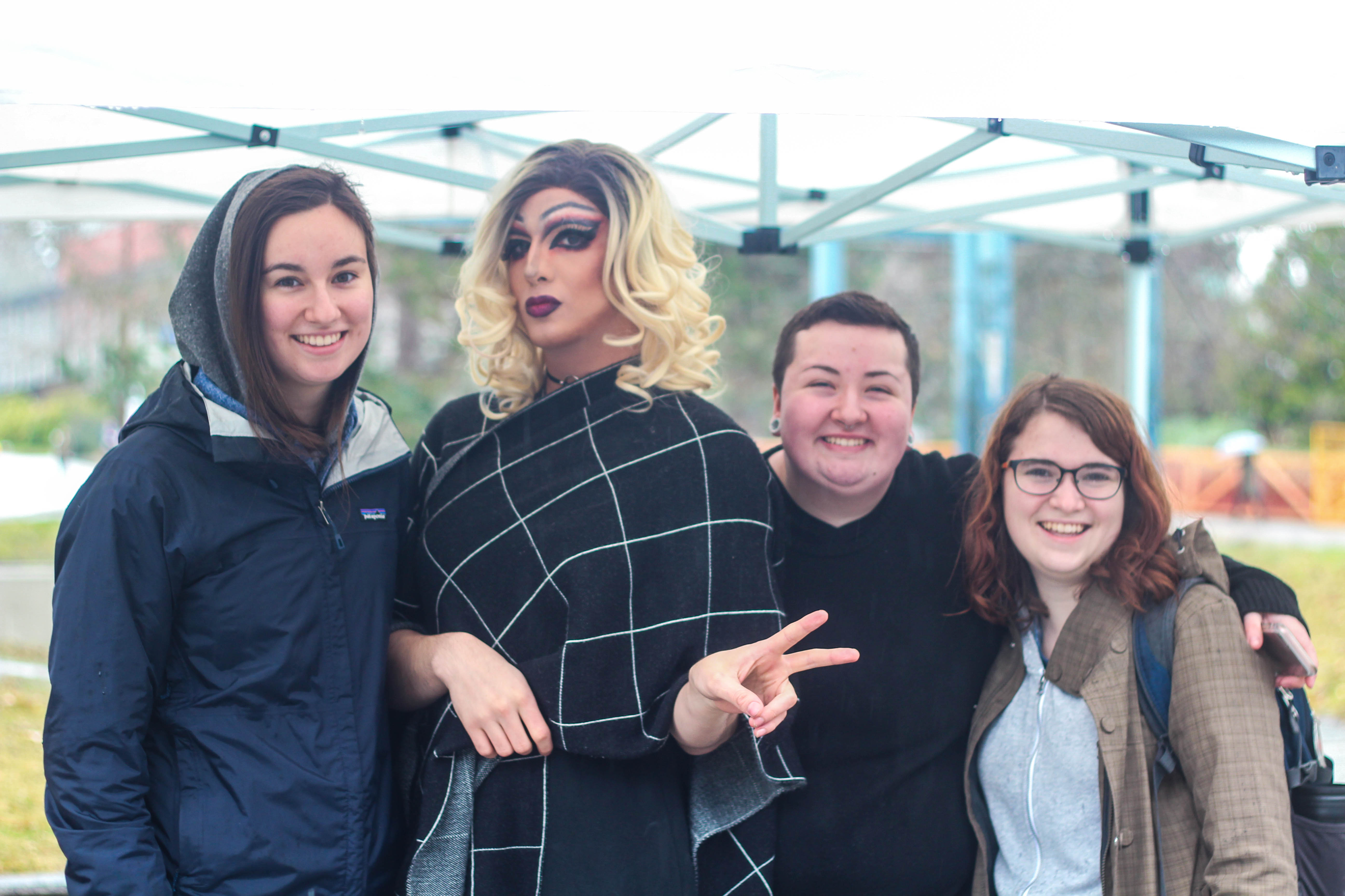 UBC Pride members pose with Donna, a drag performer.