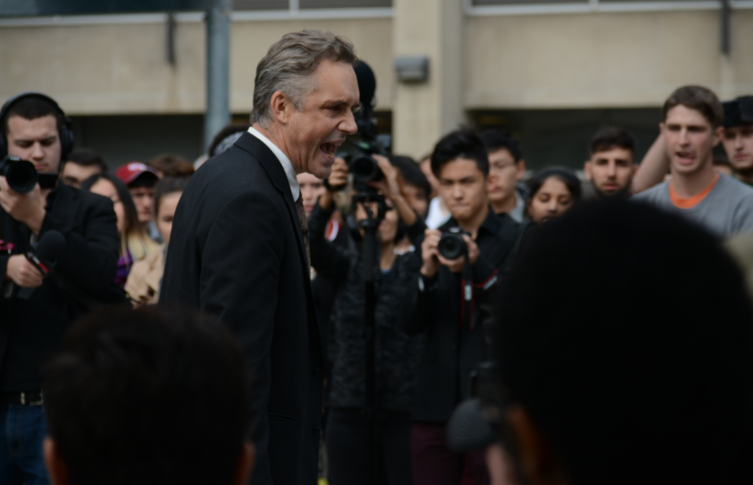 Peterson speaks at an October rally for free speech at the University of Toronto.