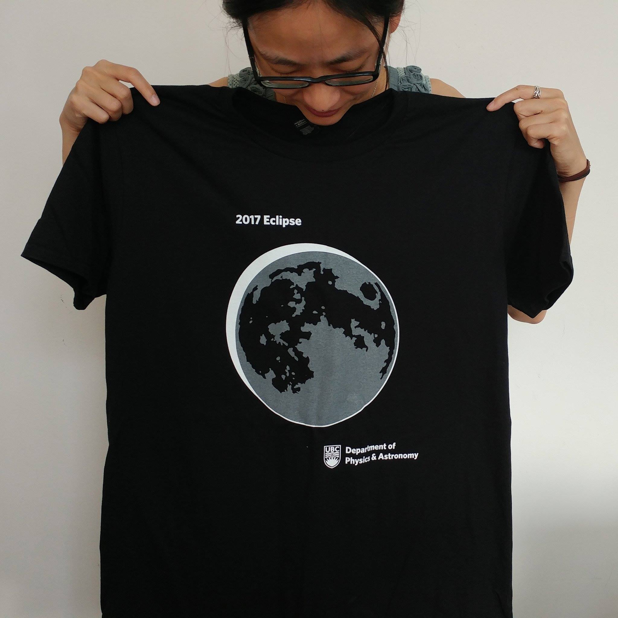 UBC Department of Physics and Astronomy made eclipse-themed shirts for their volunteers.