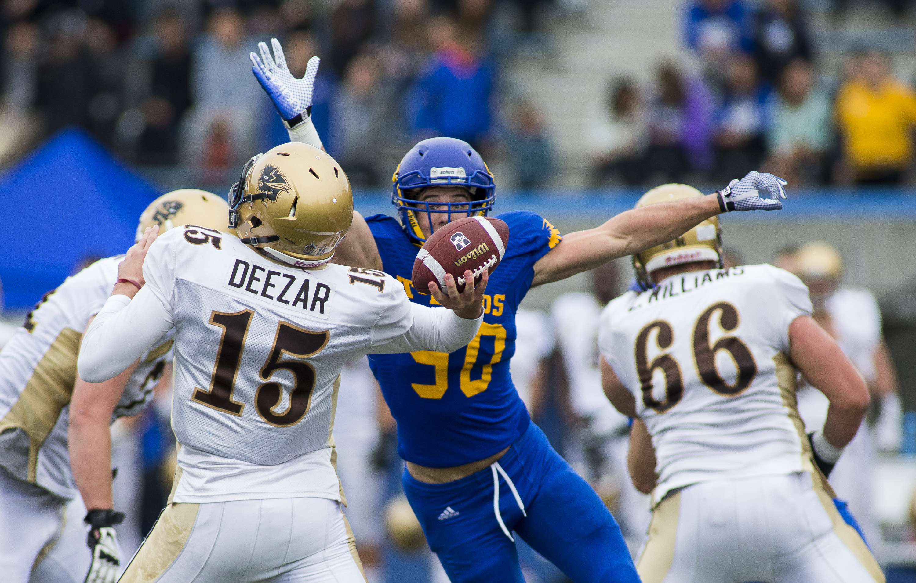 Graham, UBC's #90, is in his first year with the T-Birds. His 107-yard interception return breaks a 17-year-old record in the 'Birds history books.