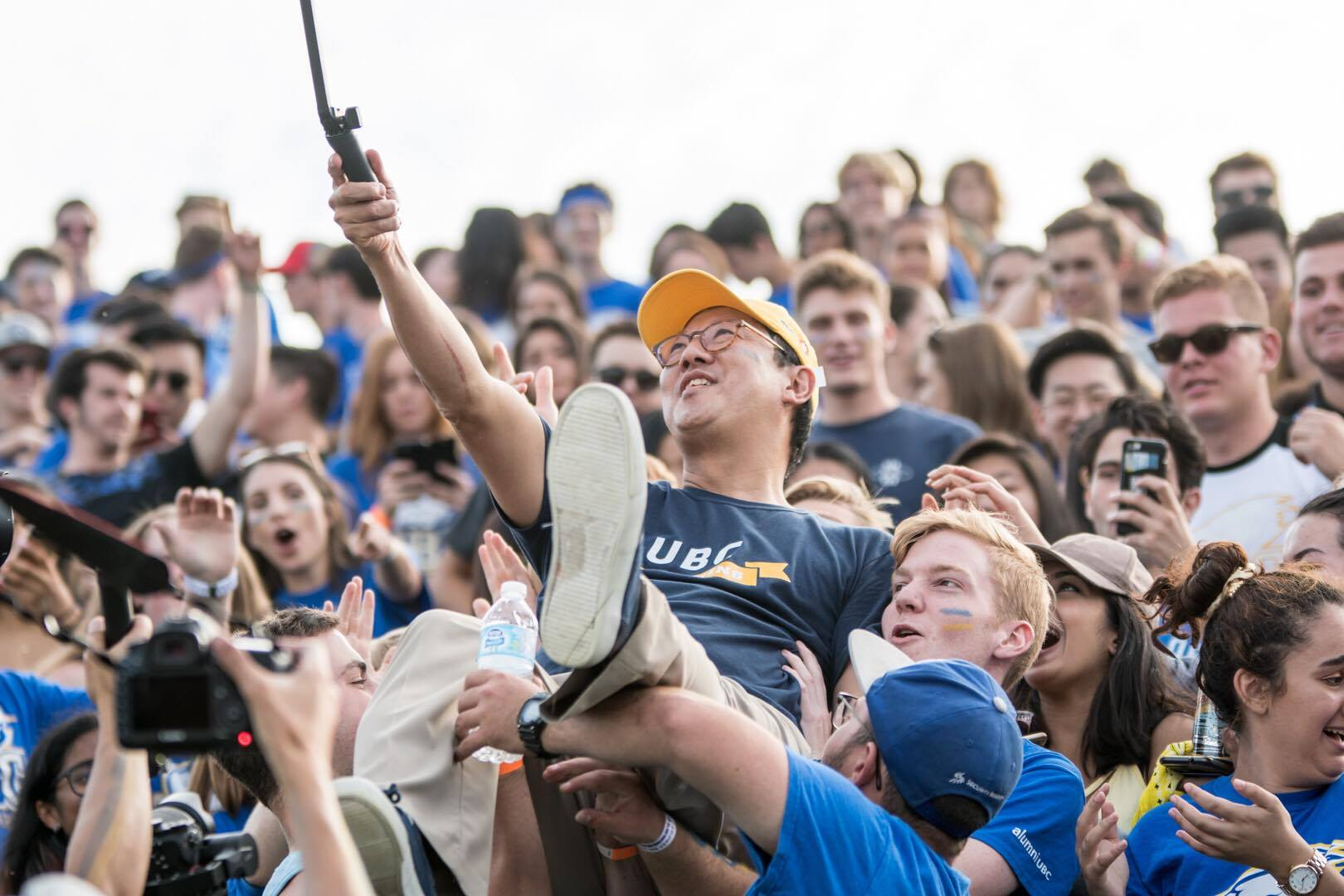 President Ono gets a camera out for his crowdsurfing adventure mid-game.
