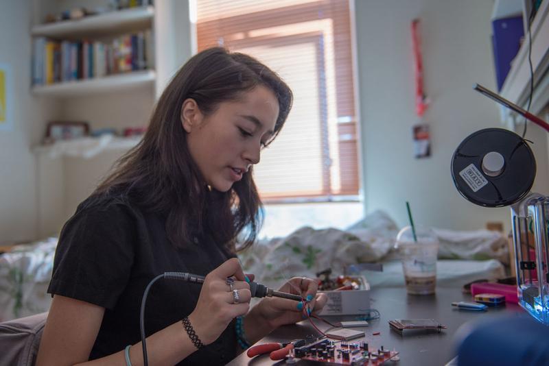 Makosinski in her dorm room in 2016.