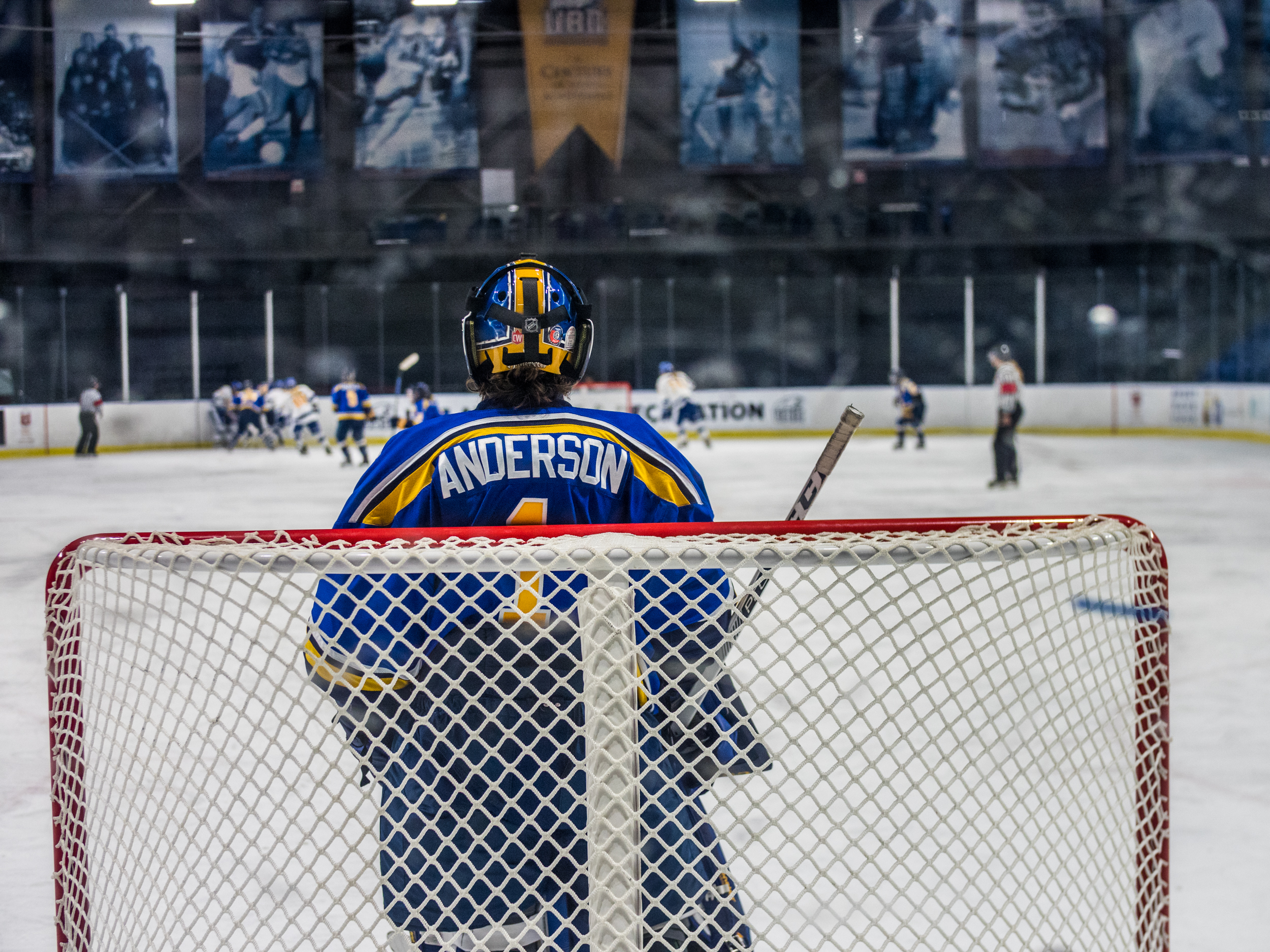 Lethbridge goalie Alicia Anderson looks at the action down ice.