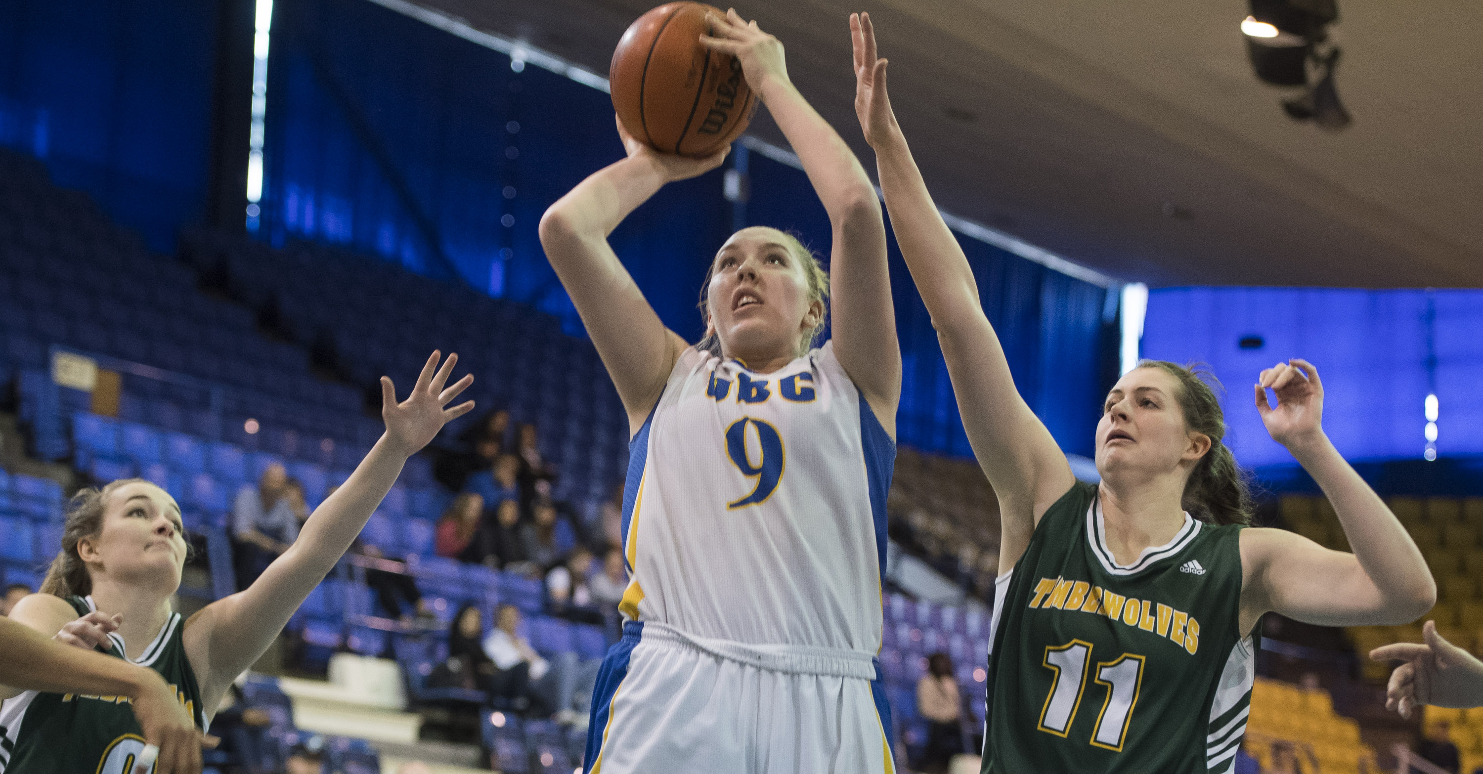 Filewich sets up for a shot against the UNBC Timberwolves.