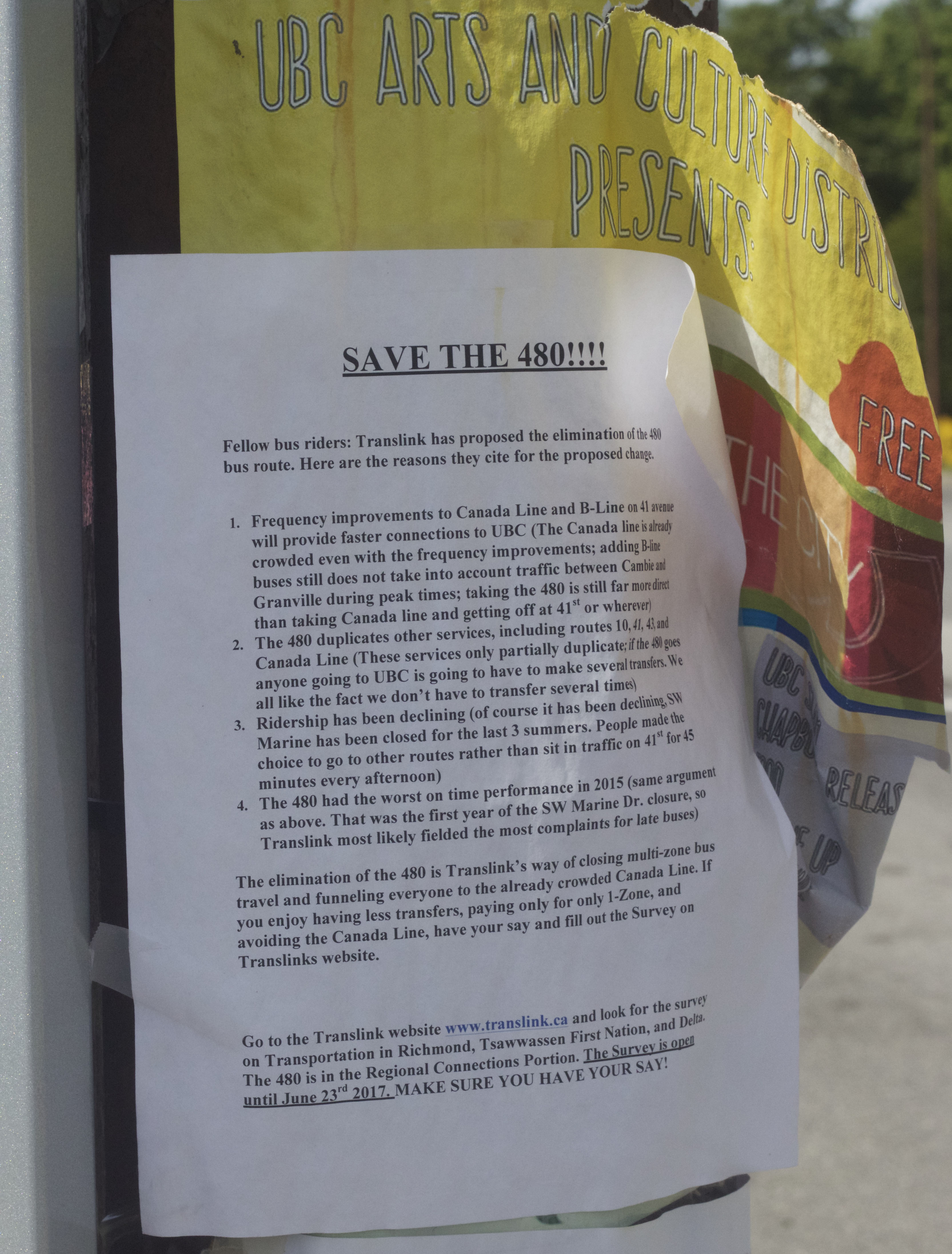 A poster found at Bay Exchange 6 urging students to save the 480 route.
