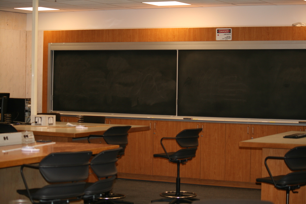 A swing space classroom that holds courses displaced by the seismic upgrade.