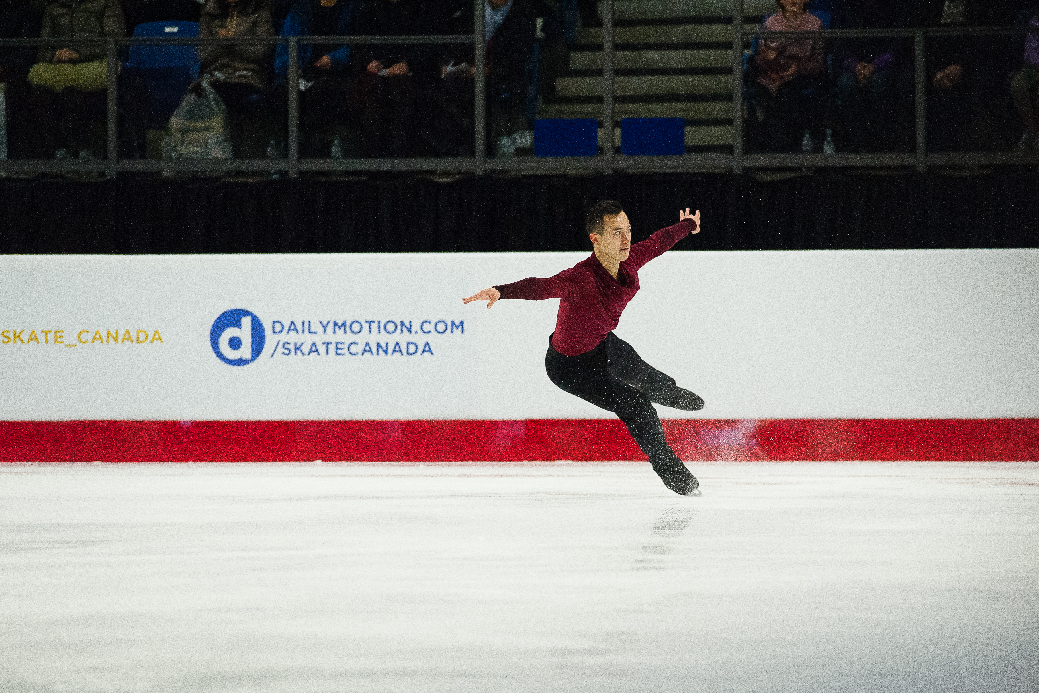 Patrick Chan lands a jump in his free program.