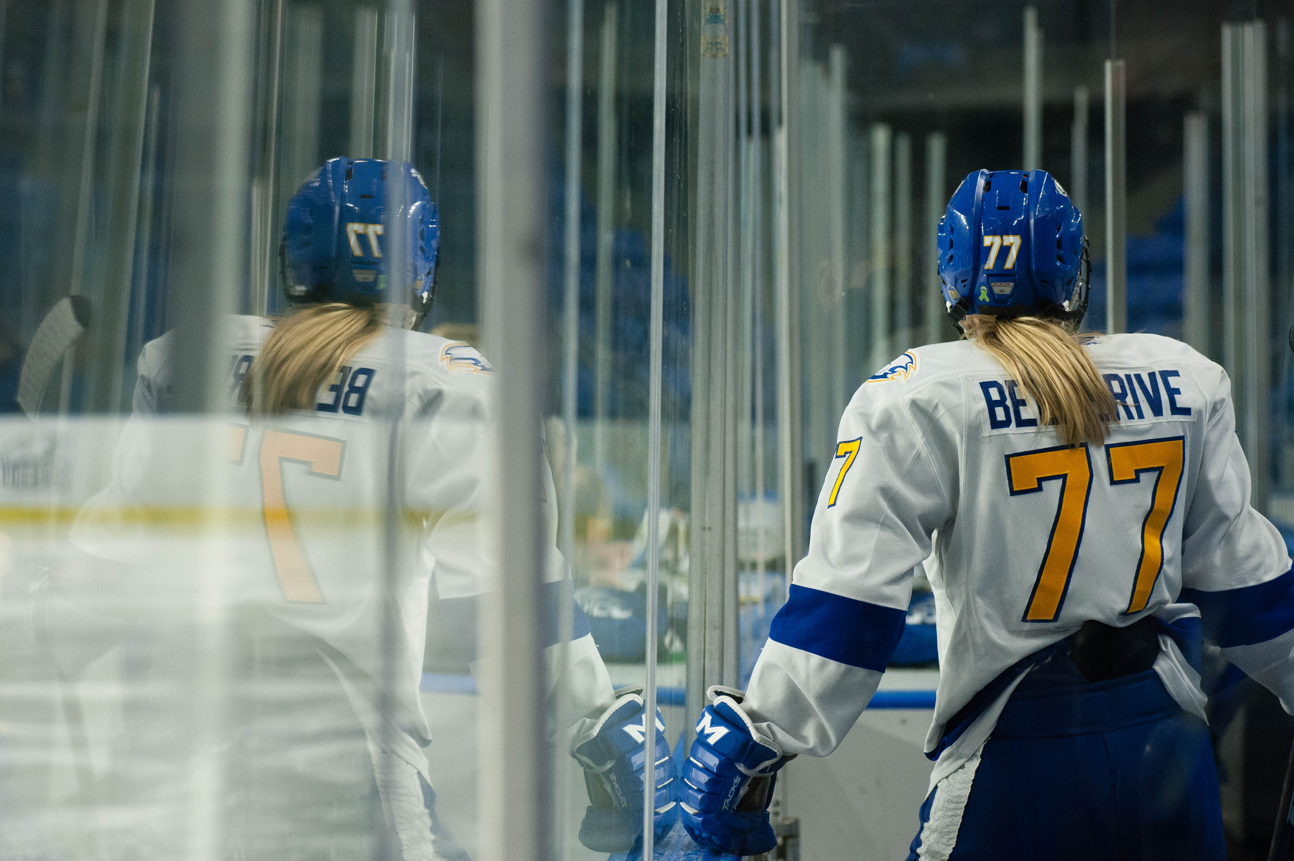 Brielle Bellerive takes a seat in the box.