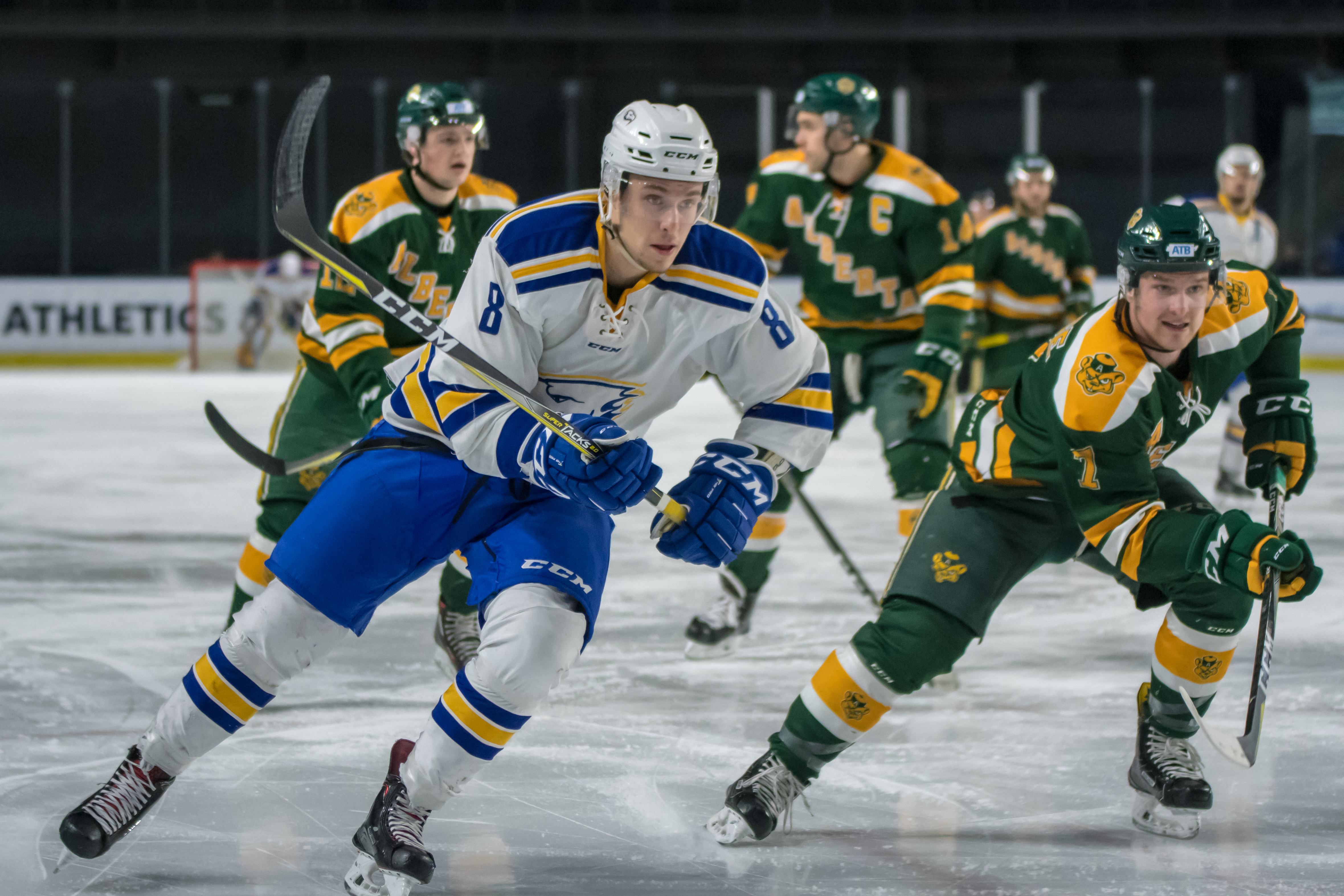 Riley Guenther steps ahead of Alberta's Sawyer Lange.