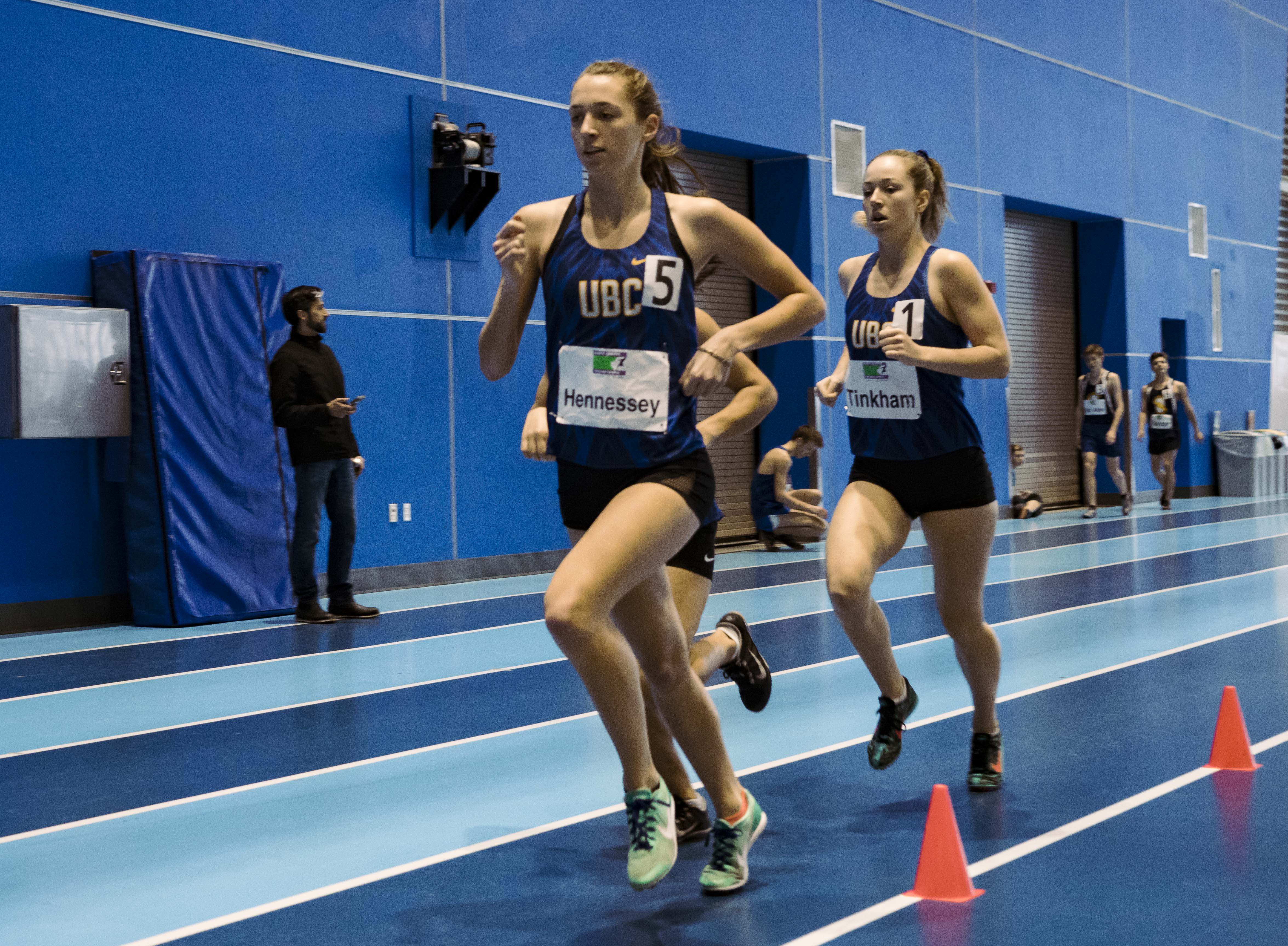 UBC trio Jamie Hennessey, Mikayla Tinkham and Madelyn Huston break away from the pack in the 1,500 metre race.