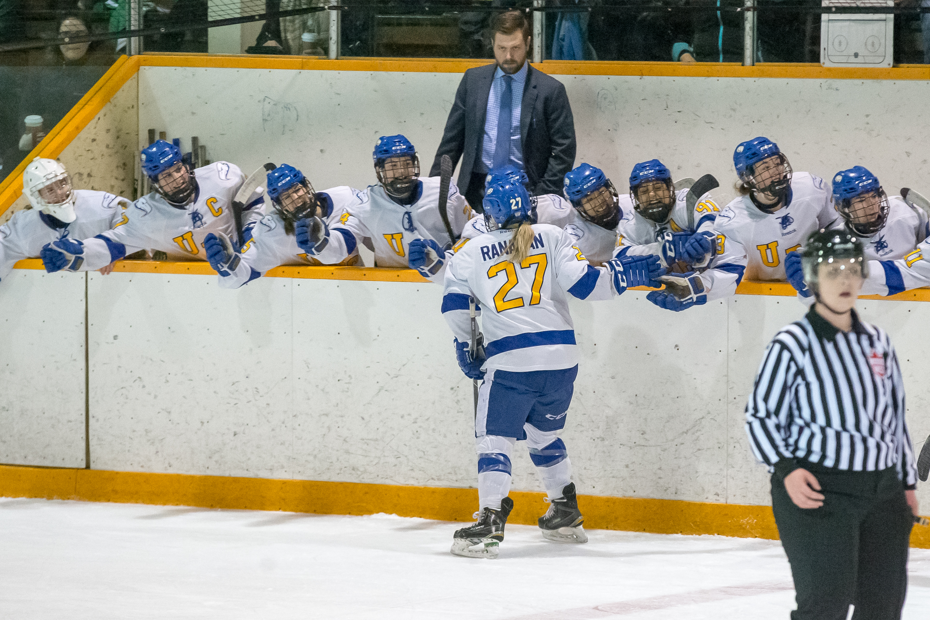 UBC celebrates their lone goal of the series in game two.