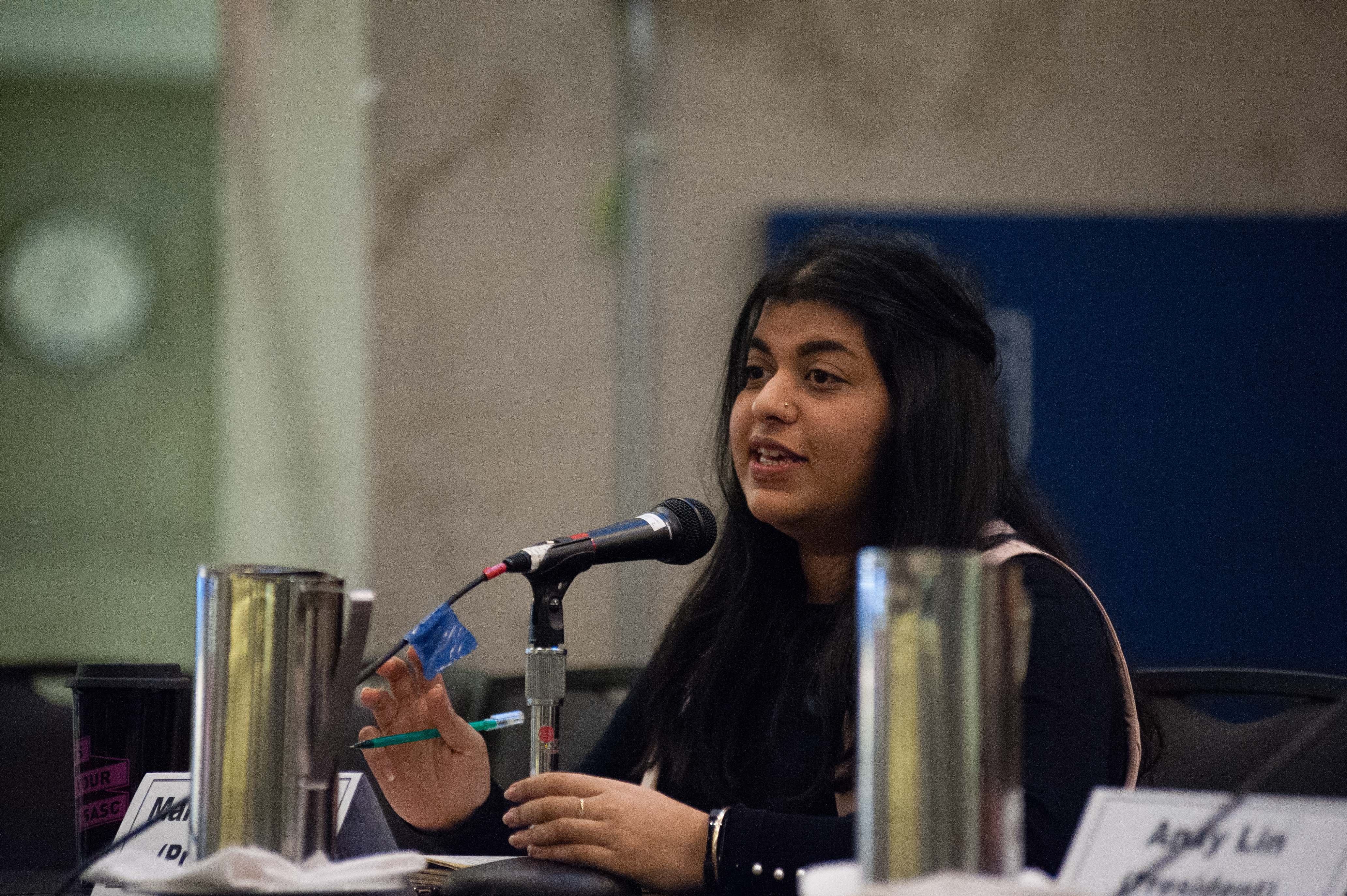 Candidate Marium Hamid at the 2018 Great Debate.