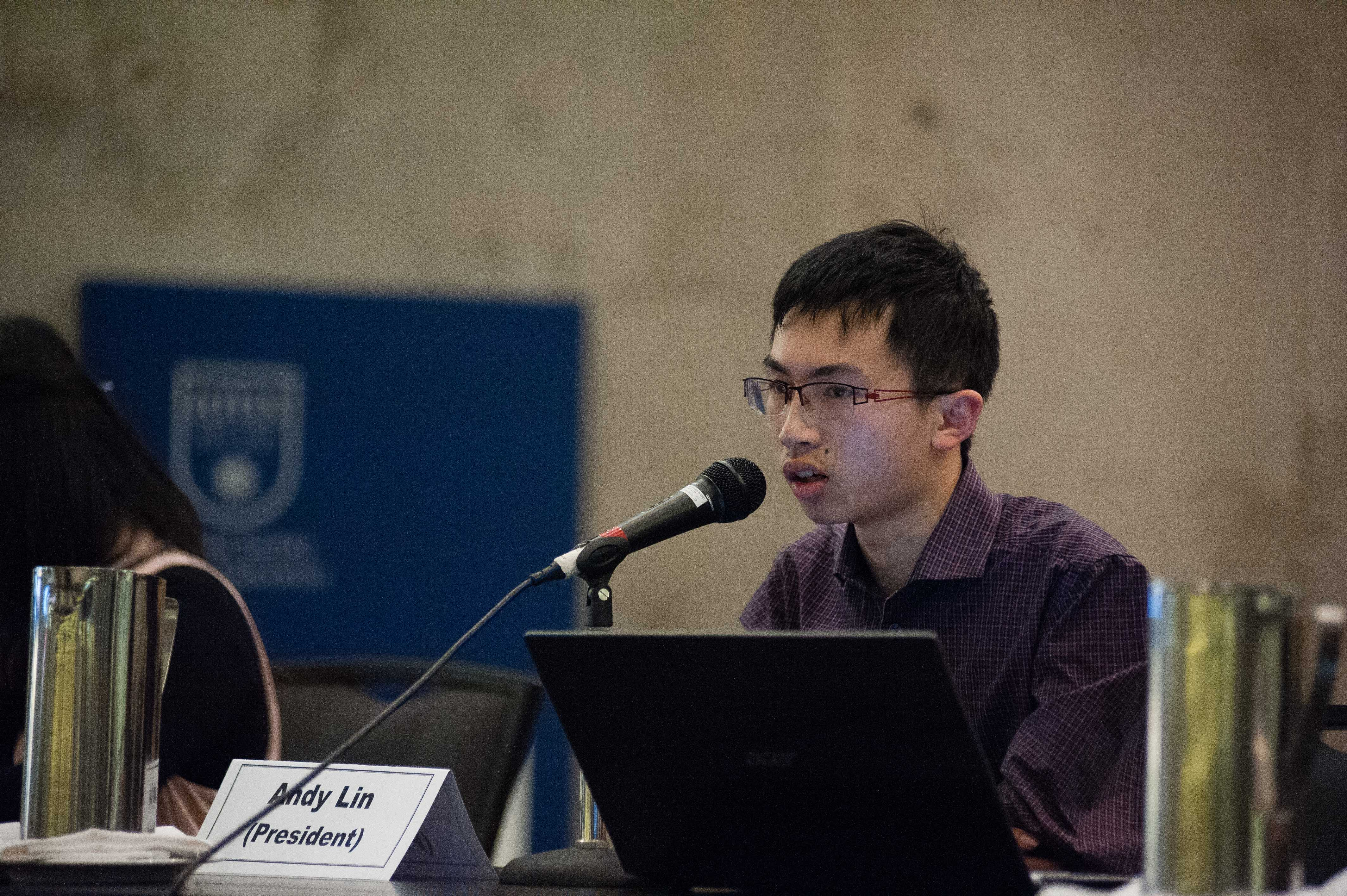 Candidate Andy Lin at the 2018 Great Debate.