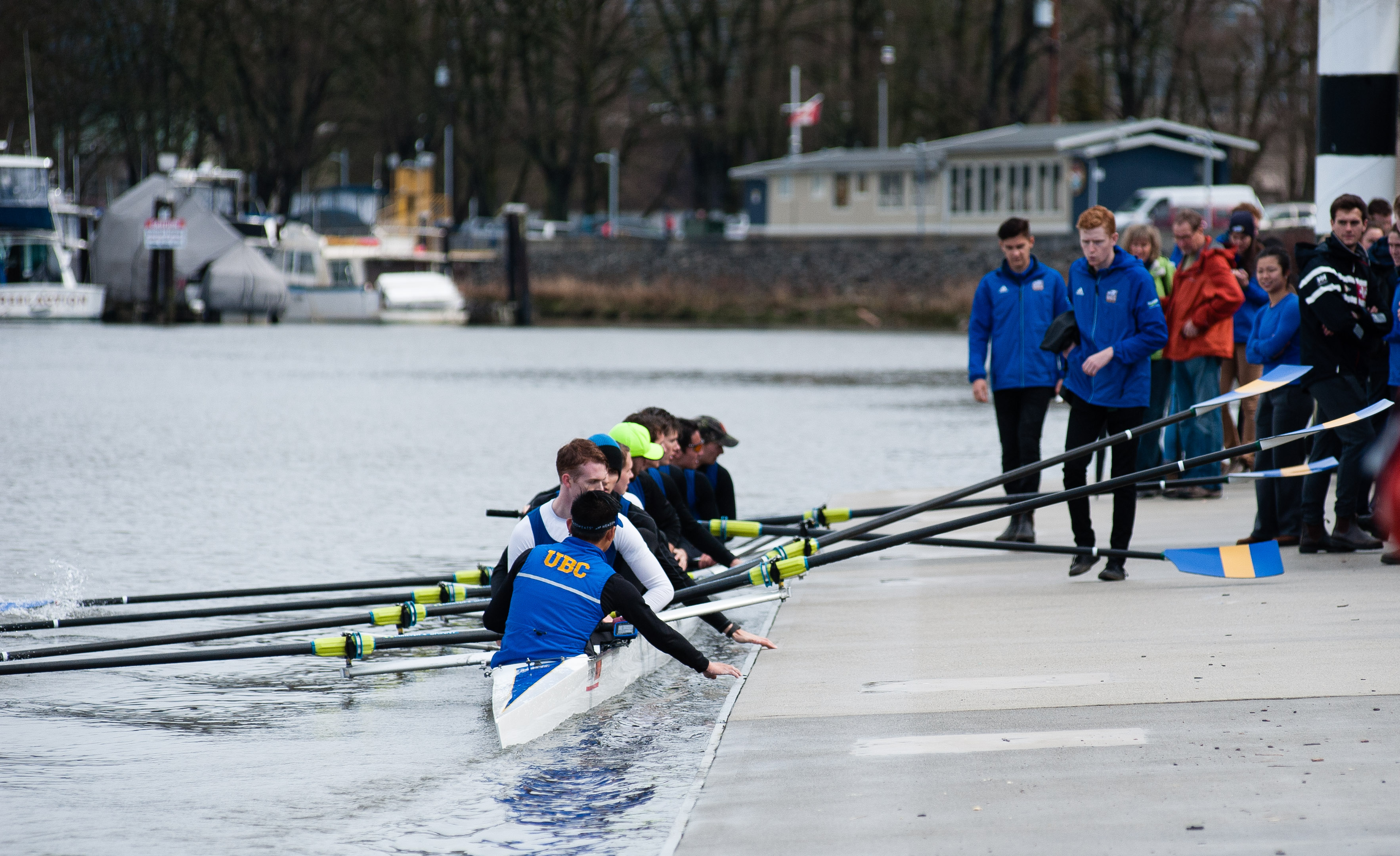 The Thunderbird varsity men's crew heads back to the boathouse post-race.