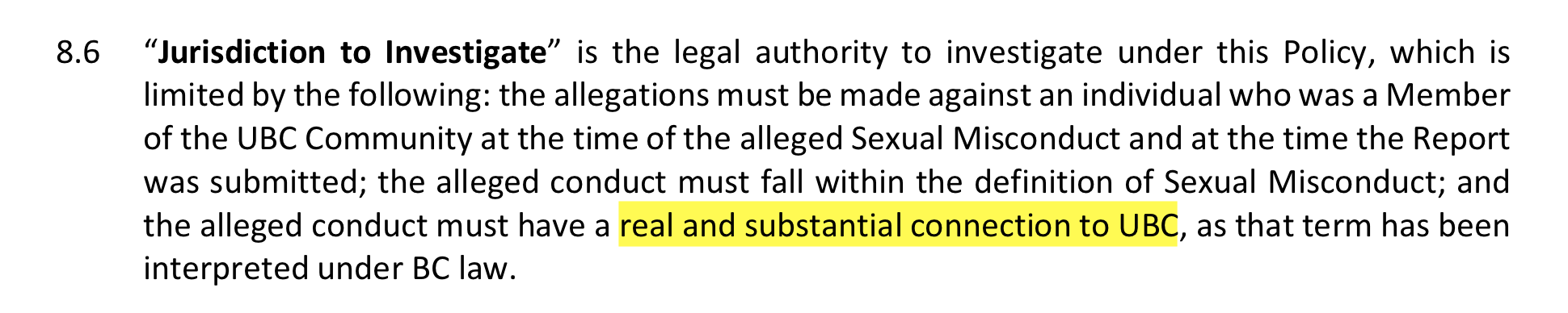 Excerpt from UBC Policy 131.