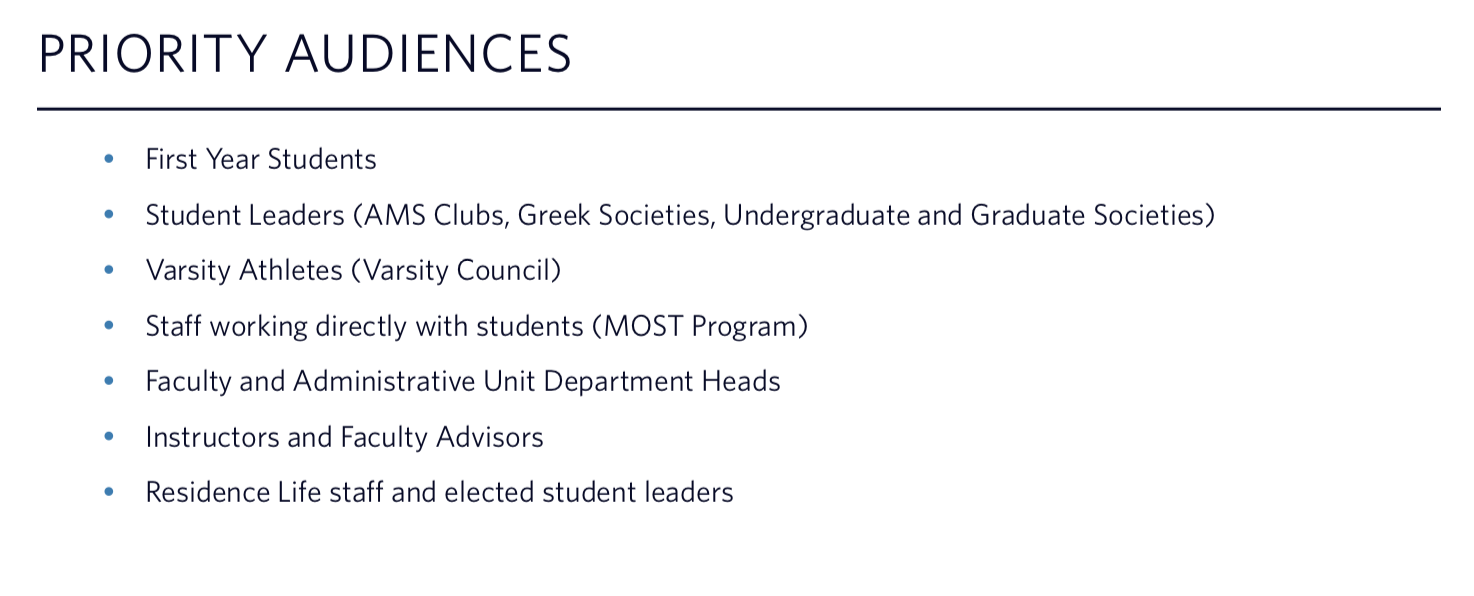 Excerpt from UBC's Sexual Assault Intervention and Prevention Education Plan, 2015.