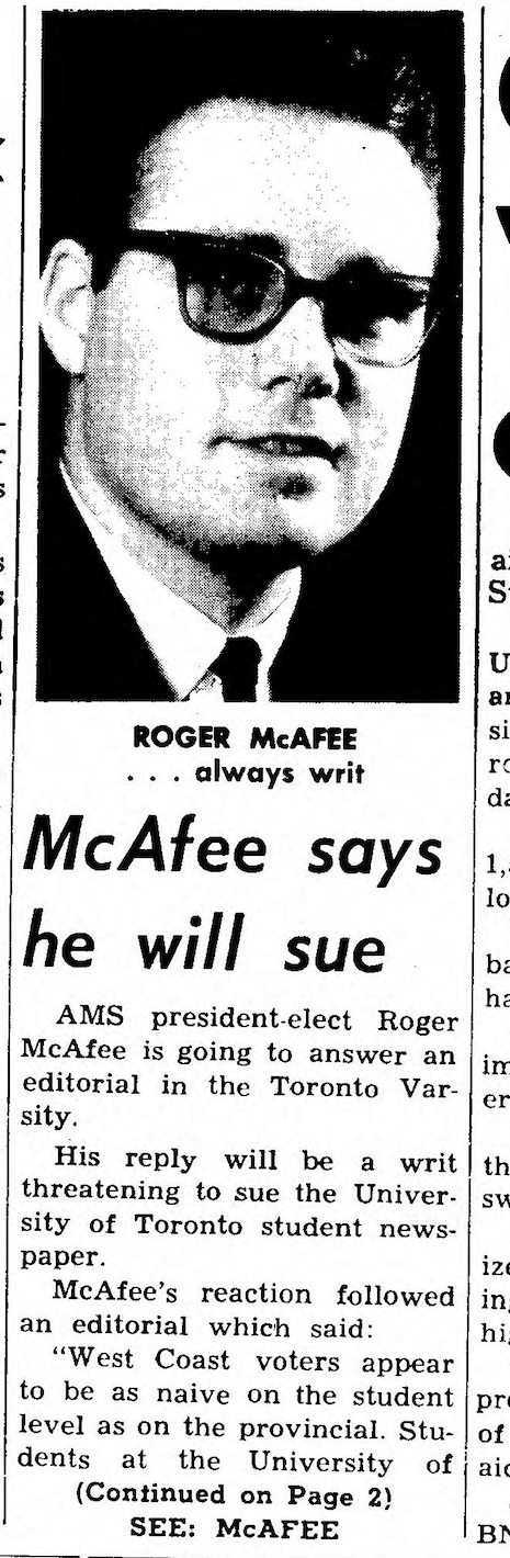 Coverage of McAfee's spat with The Varsity in the Tuesday, February 25, 1964 edition of The Ubyssey.