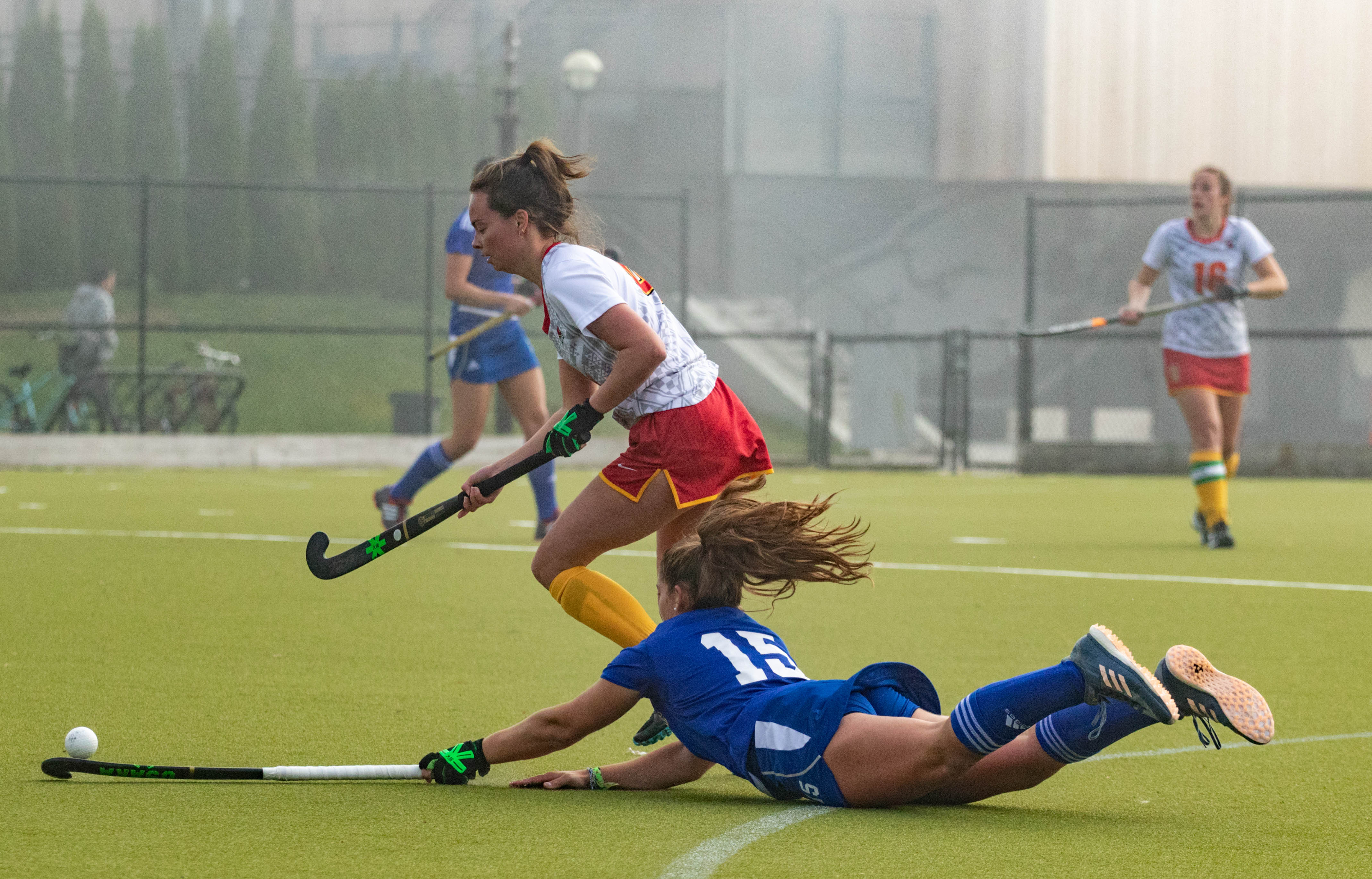 UBC's Alyssa Nonis reaches for the ball against Calgary.