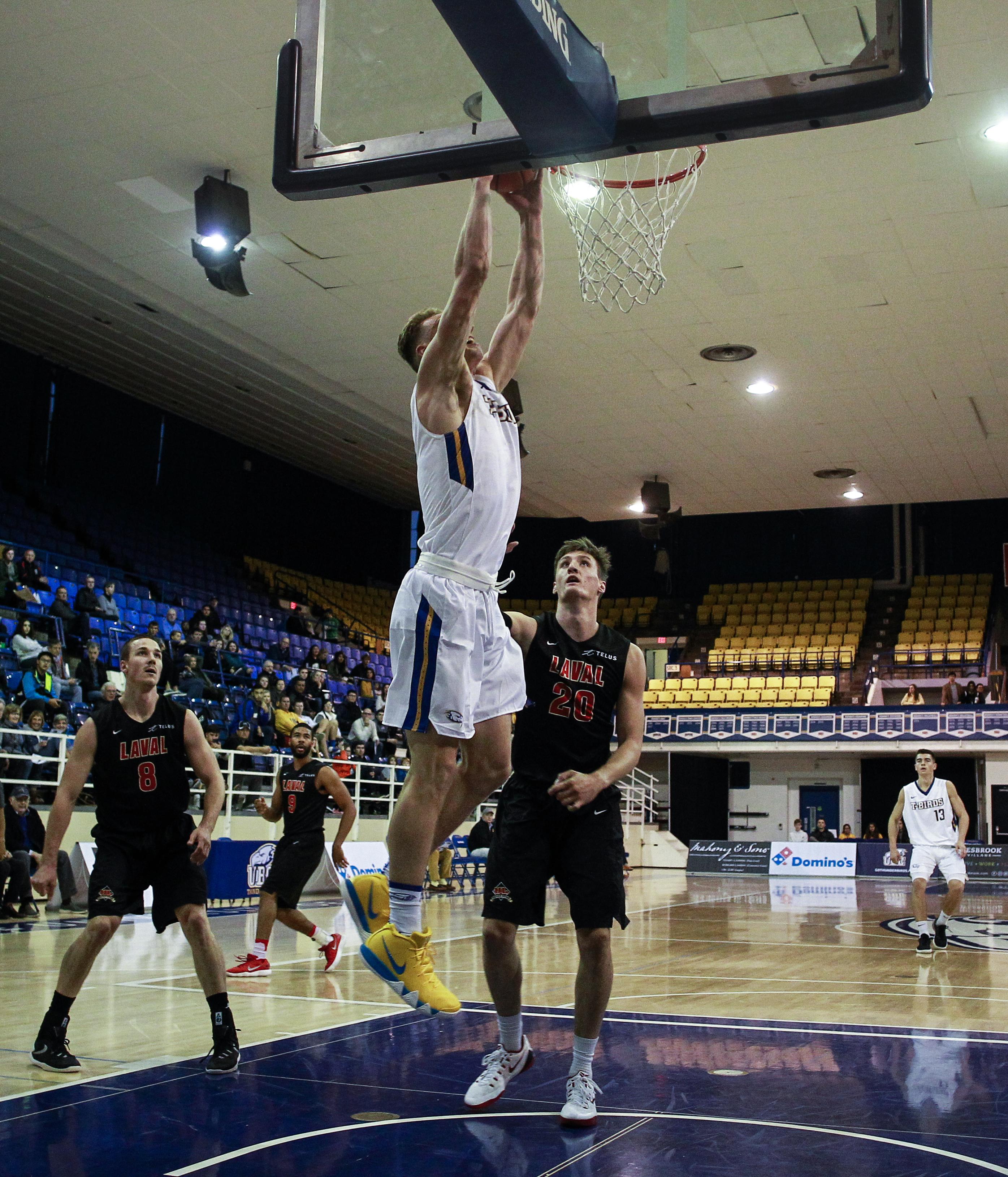 Grant Shephard dunks the ball for UBC.