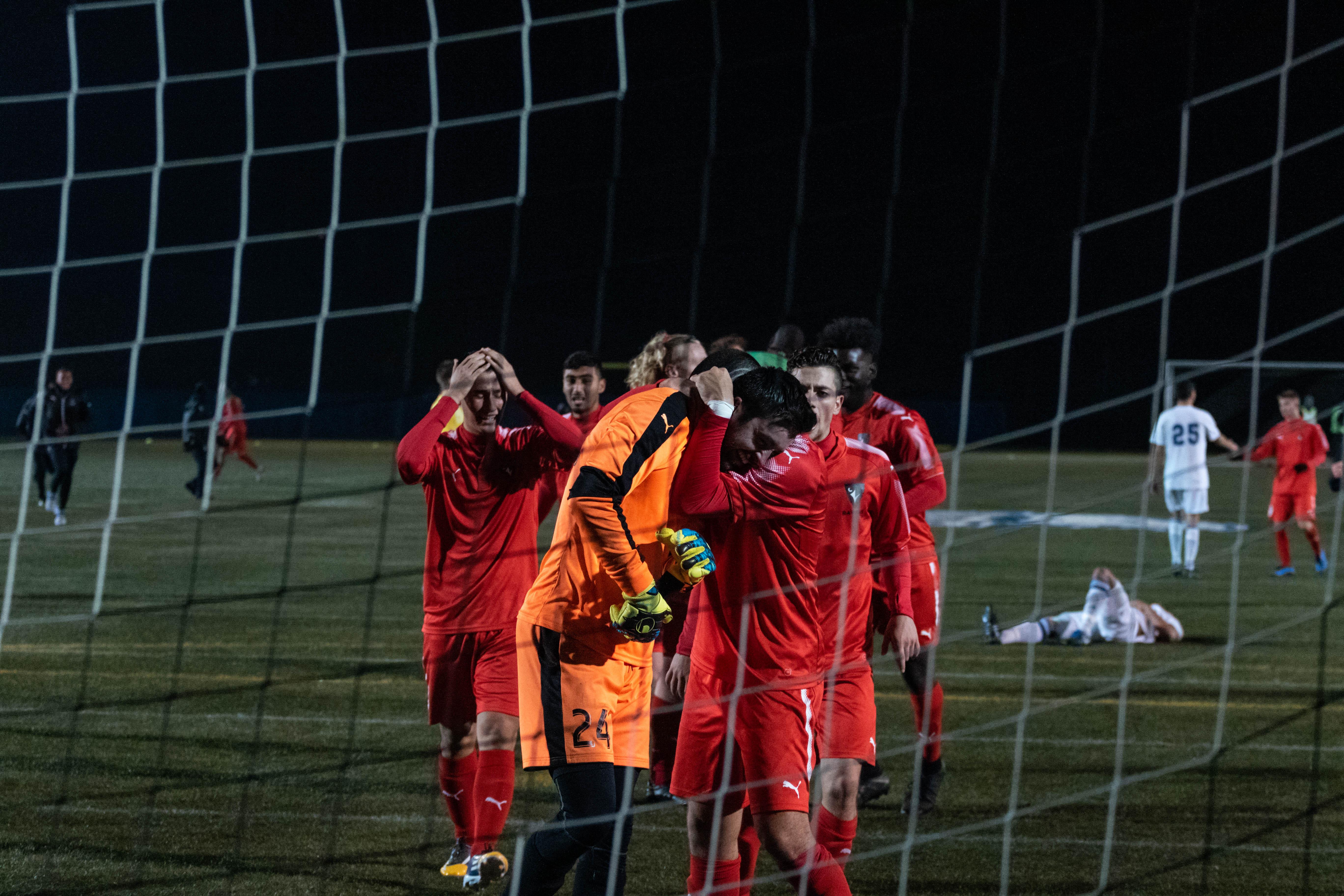Carleton celebrates their win.