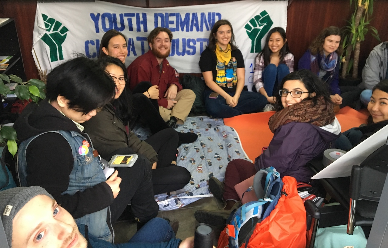 Students from the UBC Social Justice Centre and sustainability group UBCC350 are occupying the local office of Minister of Justice the Honourable Jody Wilson-Raybould.