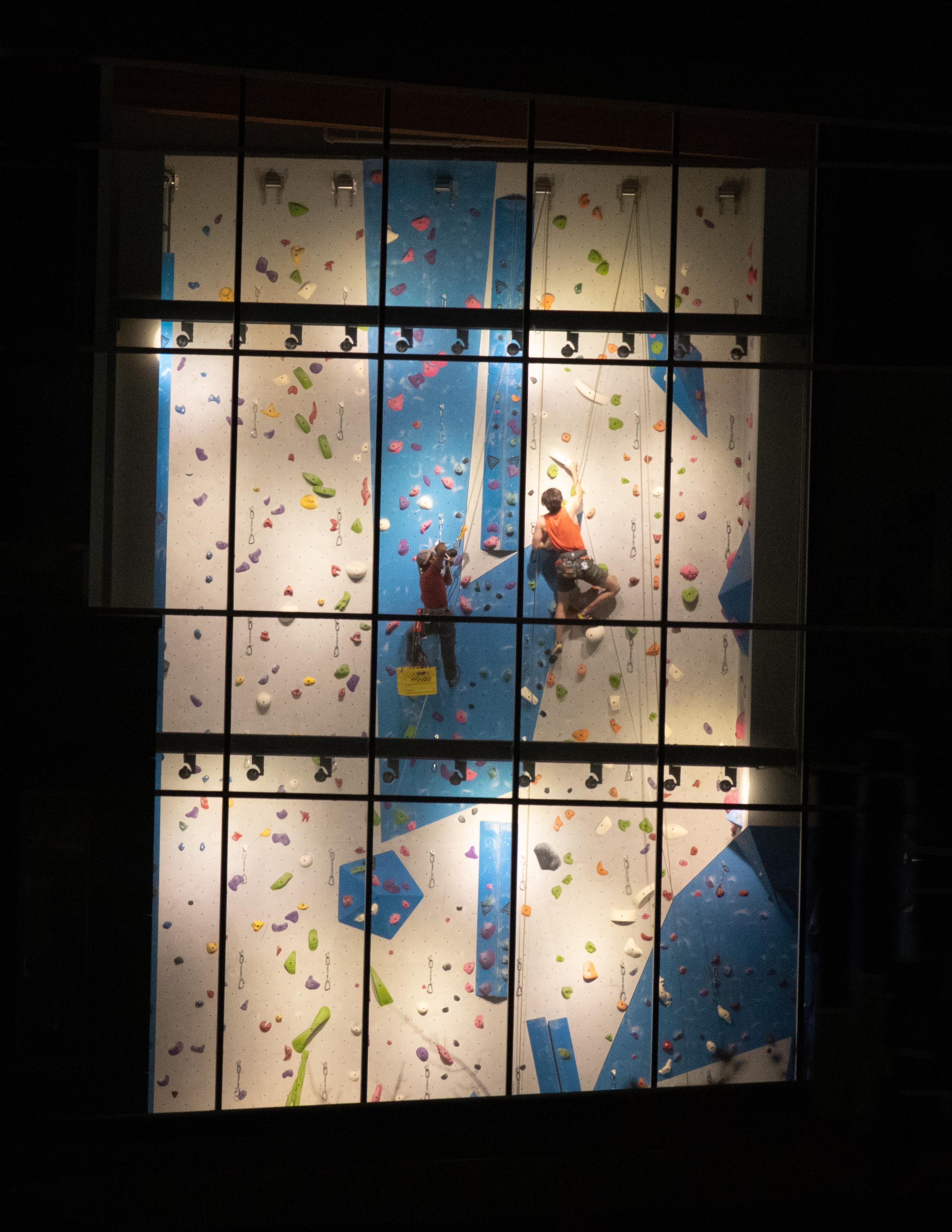 Views of the climbing wall.