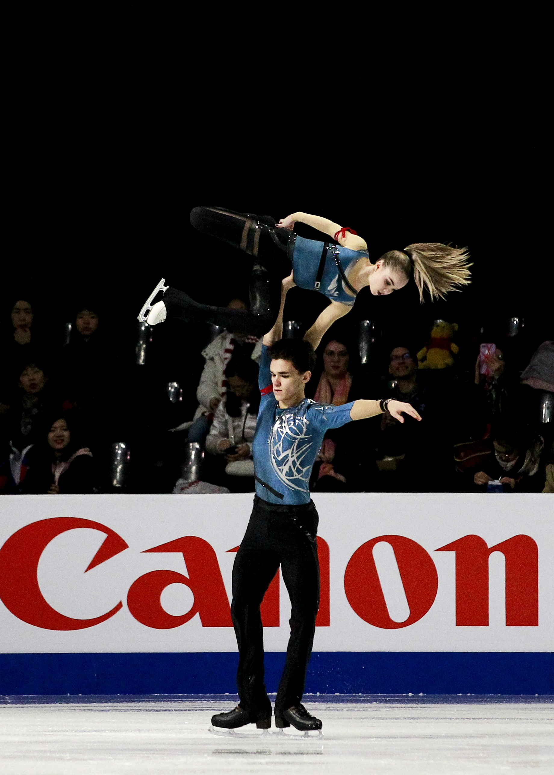 Junior pair Polina Kostiukovich and Dmitrii Ialin of Russia.