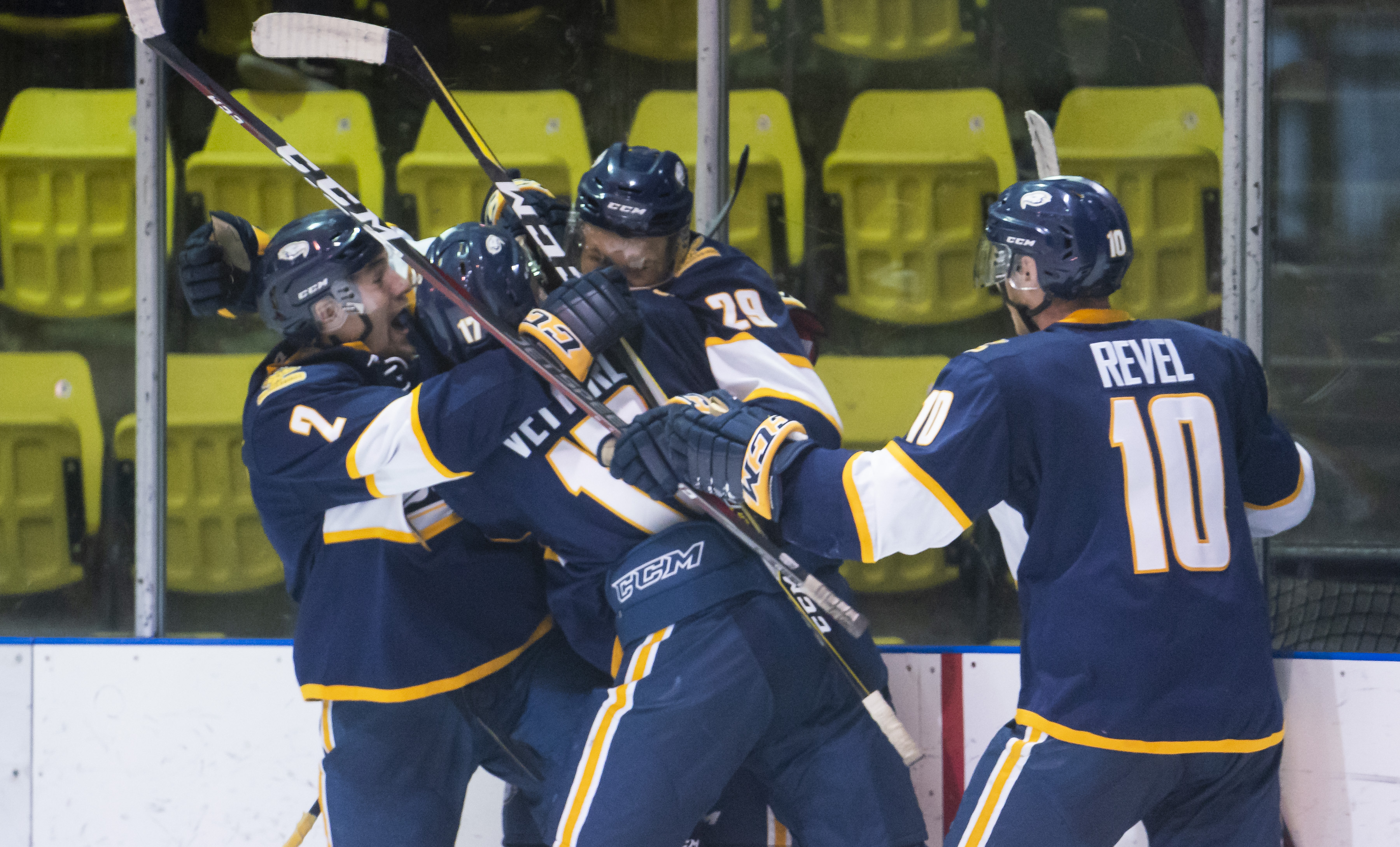 The UBC Thunderbirds celebrate a goal.