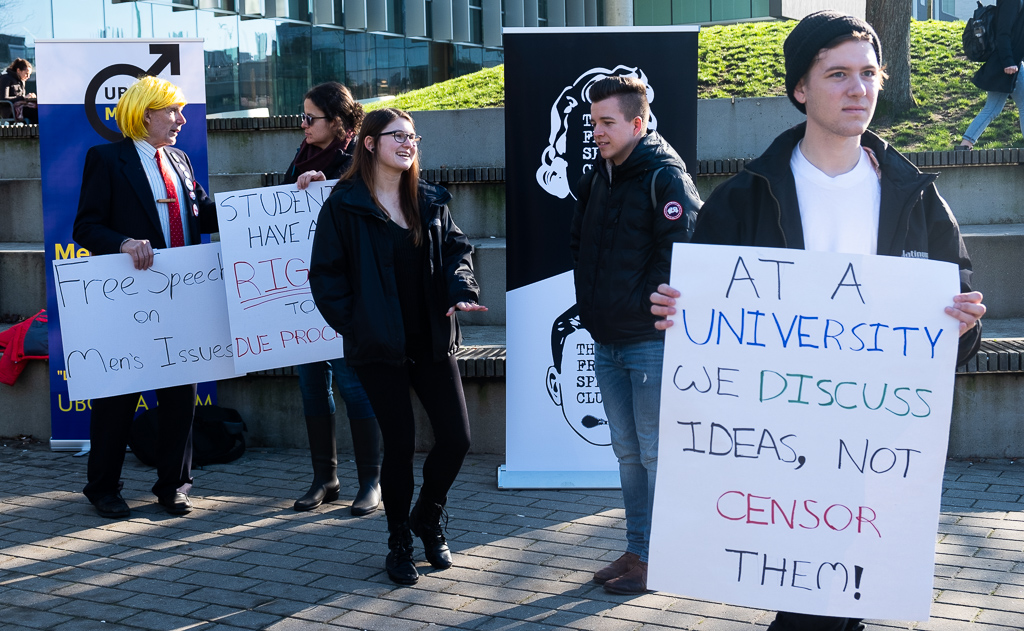 The suspension prompted a protest of around 40 people from the UBC Free Speech Club.