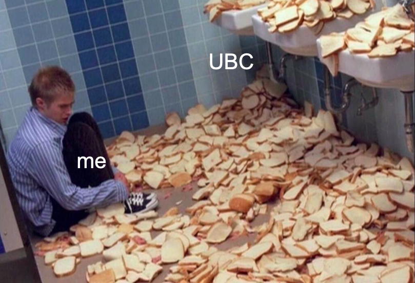 A boy labeled 'me' and a bread pile labeled 'UBC' – have you shared this yet?